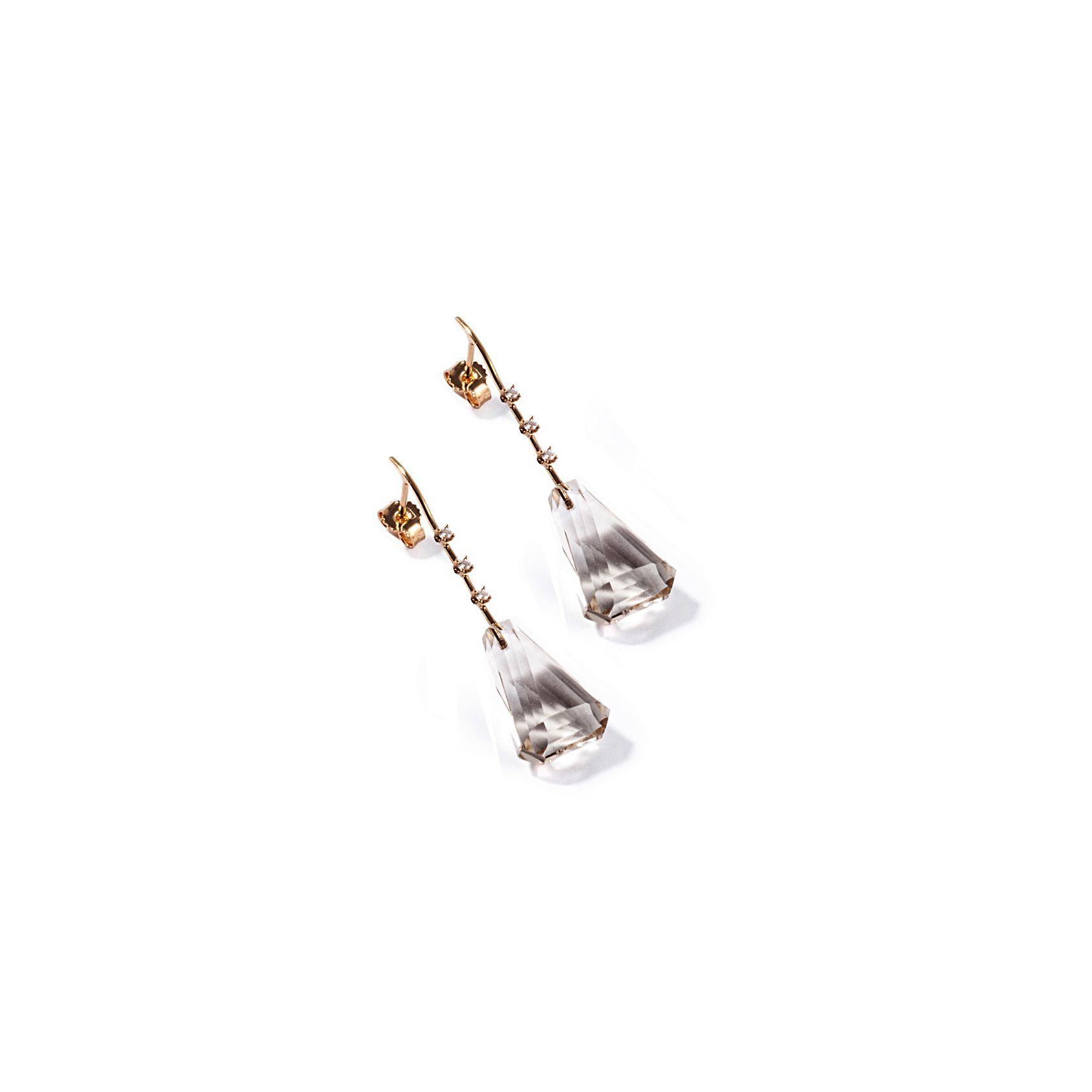 Yellow gold Fine earrings with quartz Yellow gold and diamonds earrings