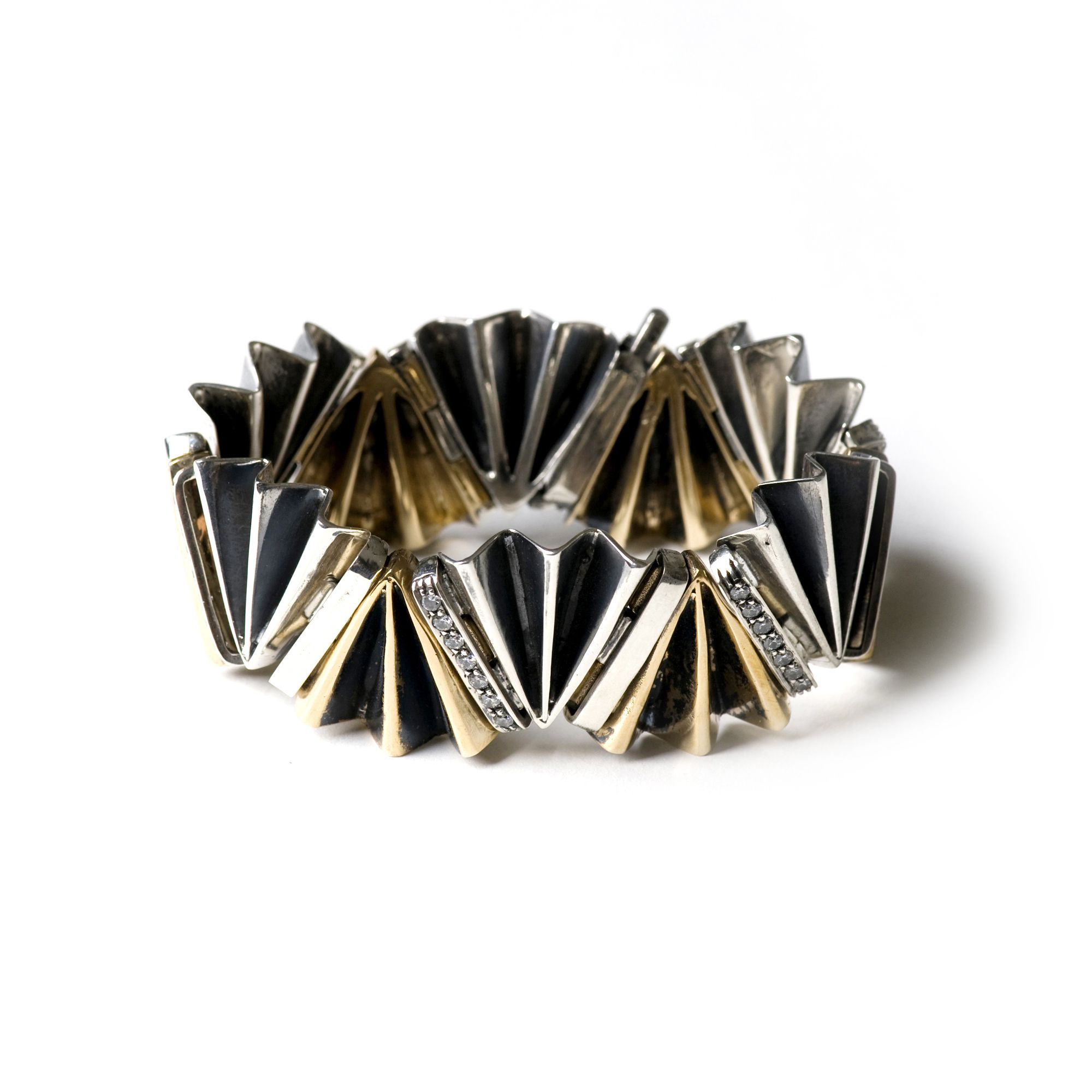 Bicolor 'fan' bracelet Silver and bronze bracelet