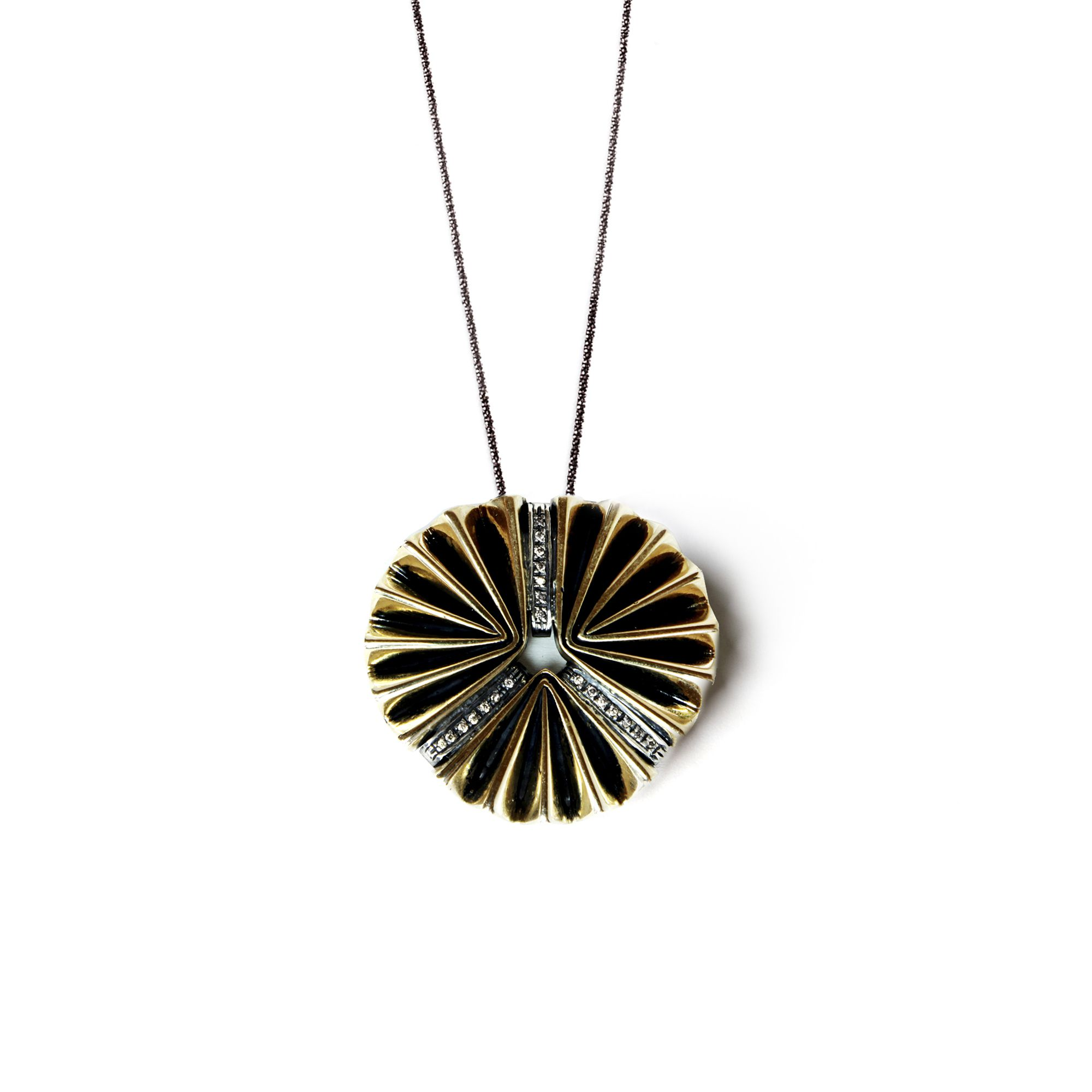 3 element 'fan' pendant necklace in bronze, silver and sapphires