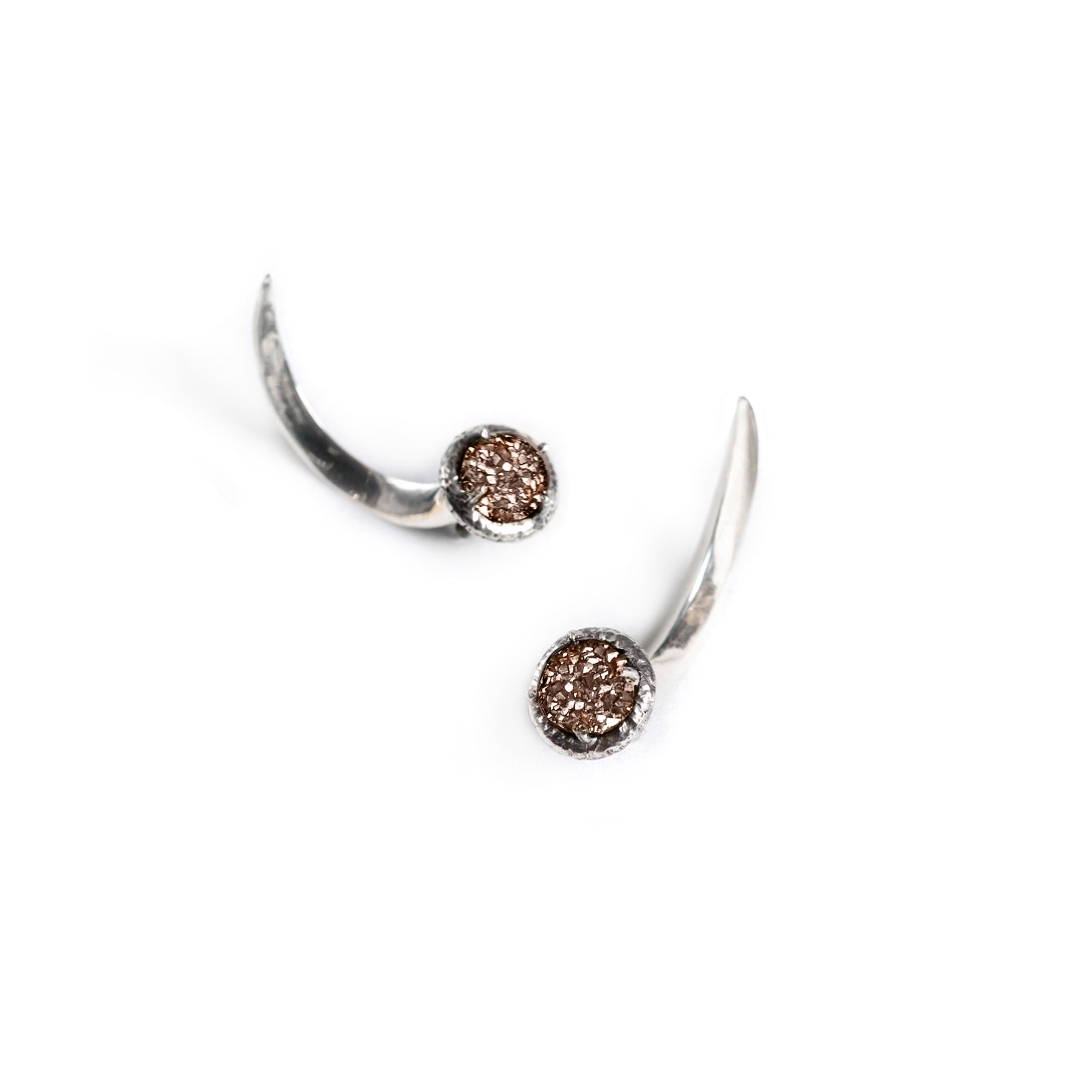 Pink drusa Hooks Earrings in silver