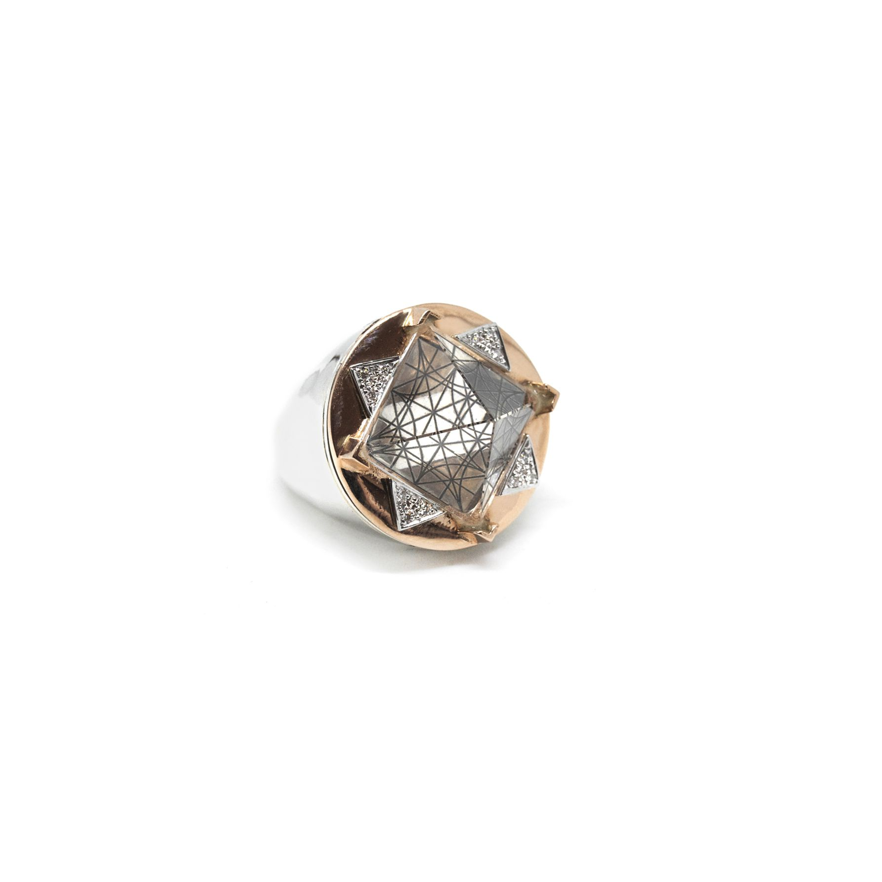 Openable 'Entropia' ring in rose gold Silver, rose gold and champagne diamonds ring
