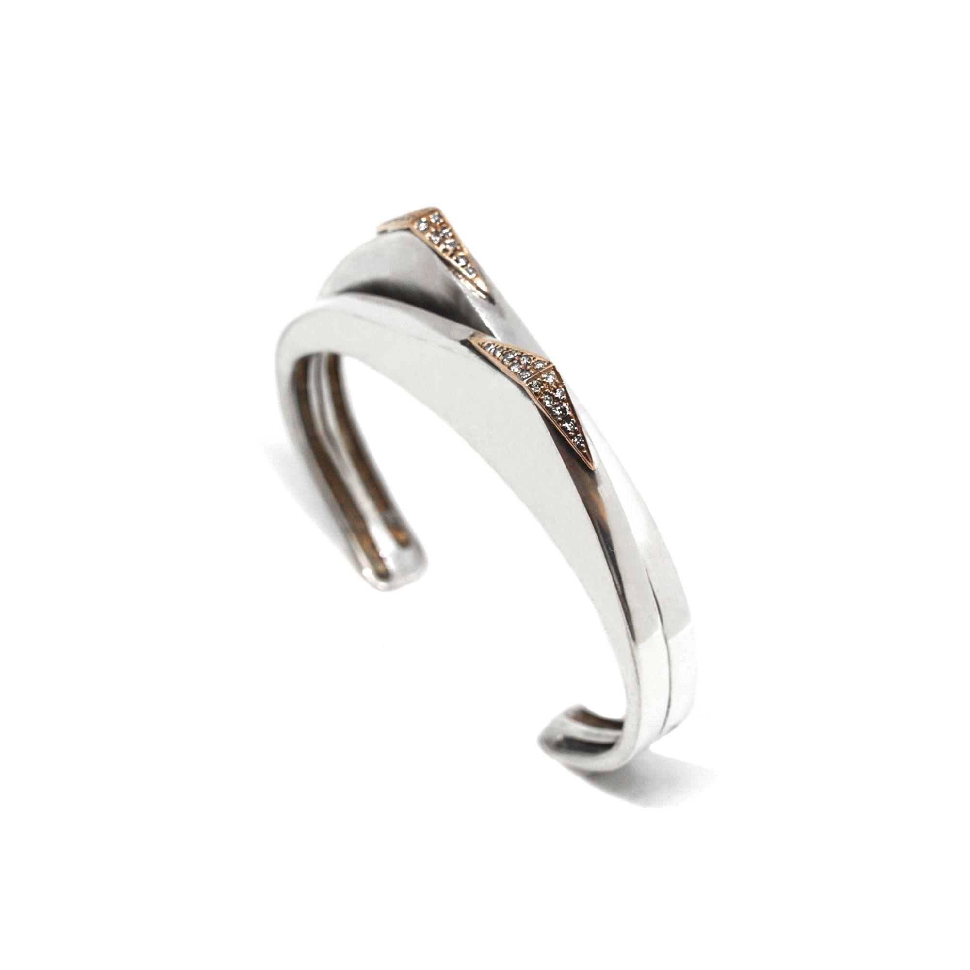Bracciale 'Congiunzioni' due elementi oro rosa Bracciale in argento, oro rosa e diamanti champagne
