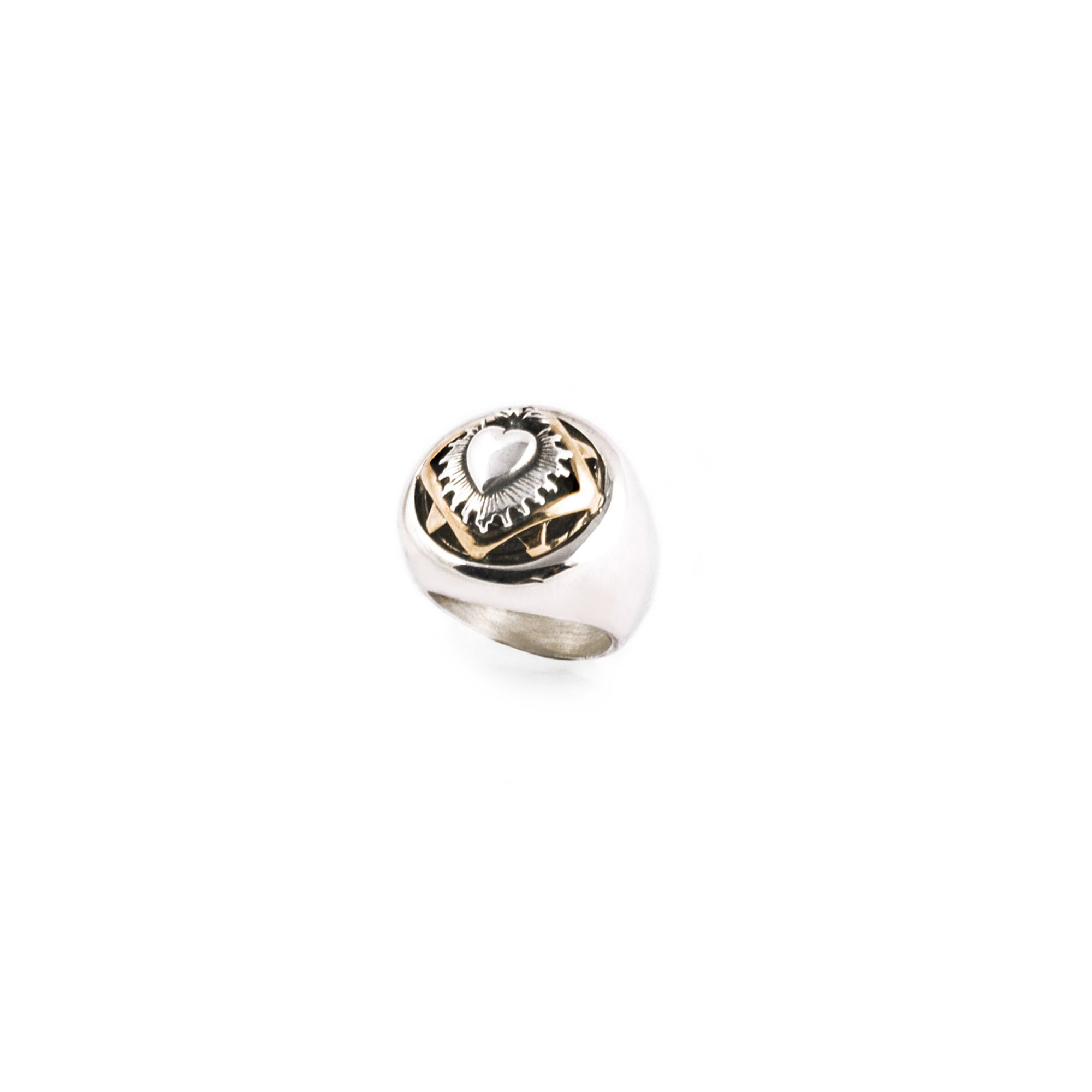 'Sacred heart' pinky ring Silver and bronze ring