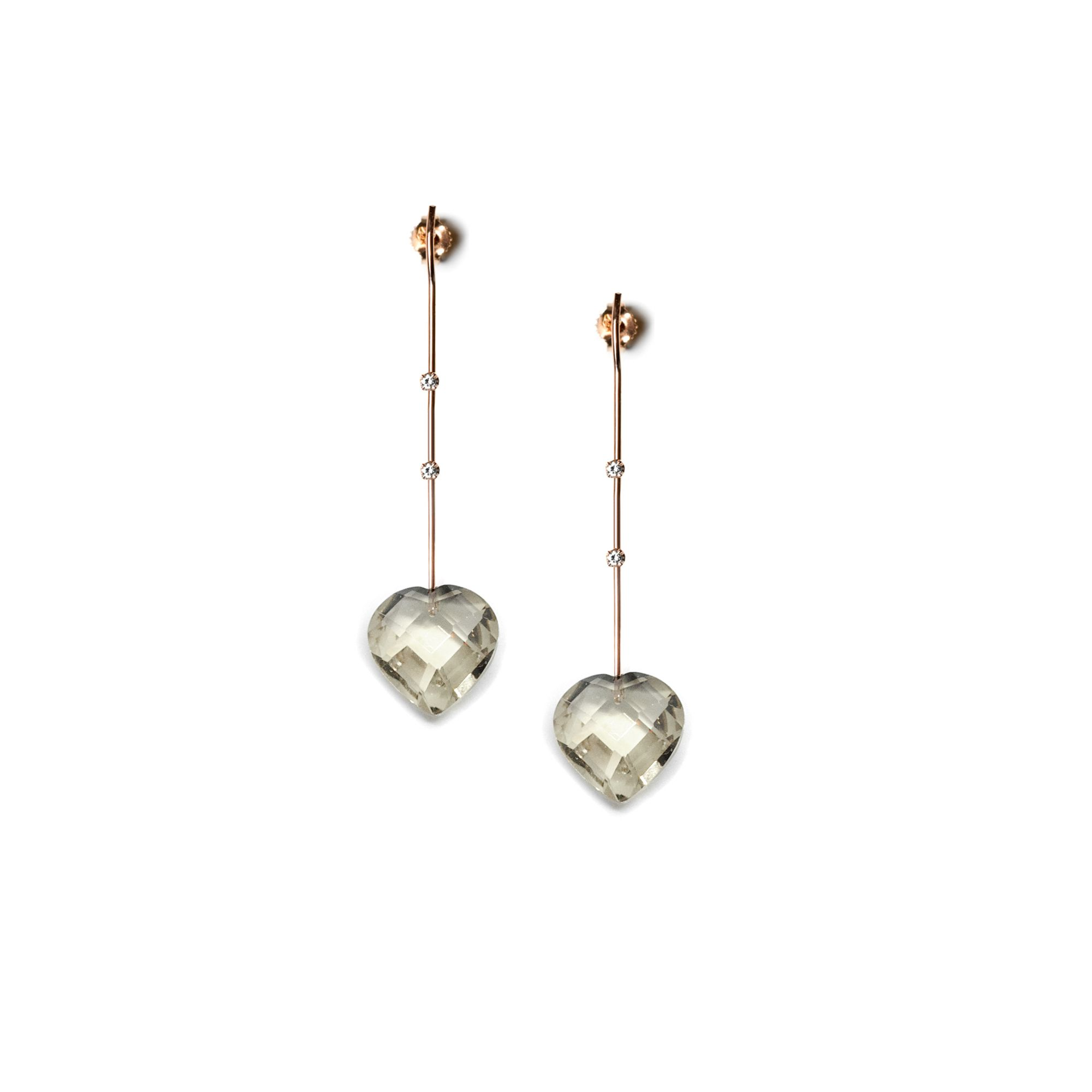Rose gold fine earrings with hearts Earrings in rose gold and quartz