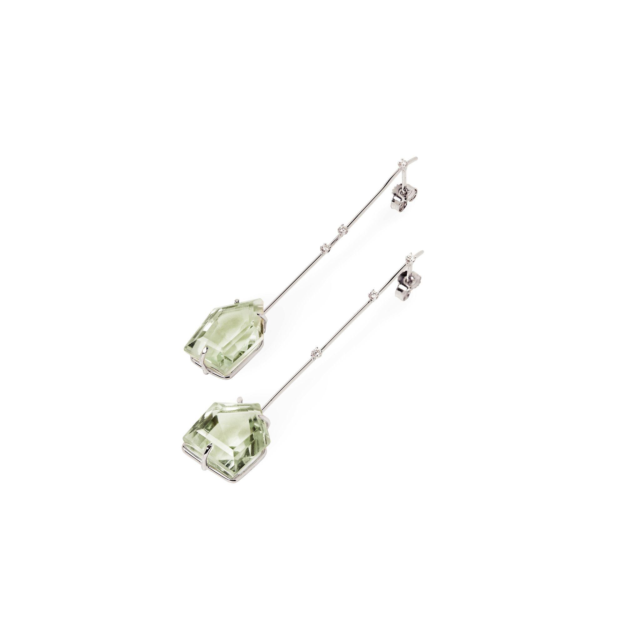 Amo con Prasiolite Orecchini in oro bianco con diamanti e cristalli