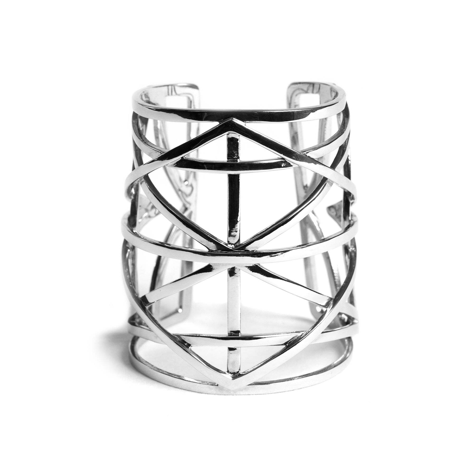 Silver 'Grill' cuff Slave cuff bracelet in silver