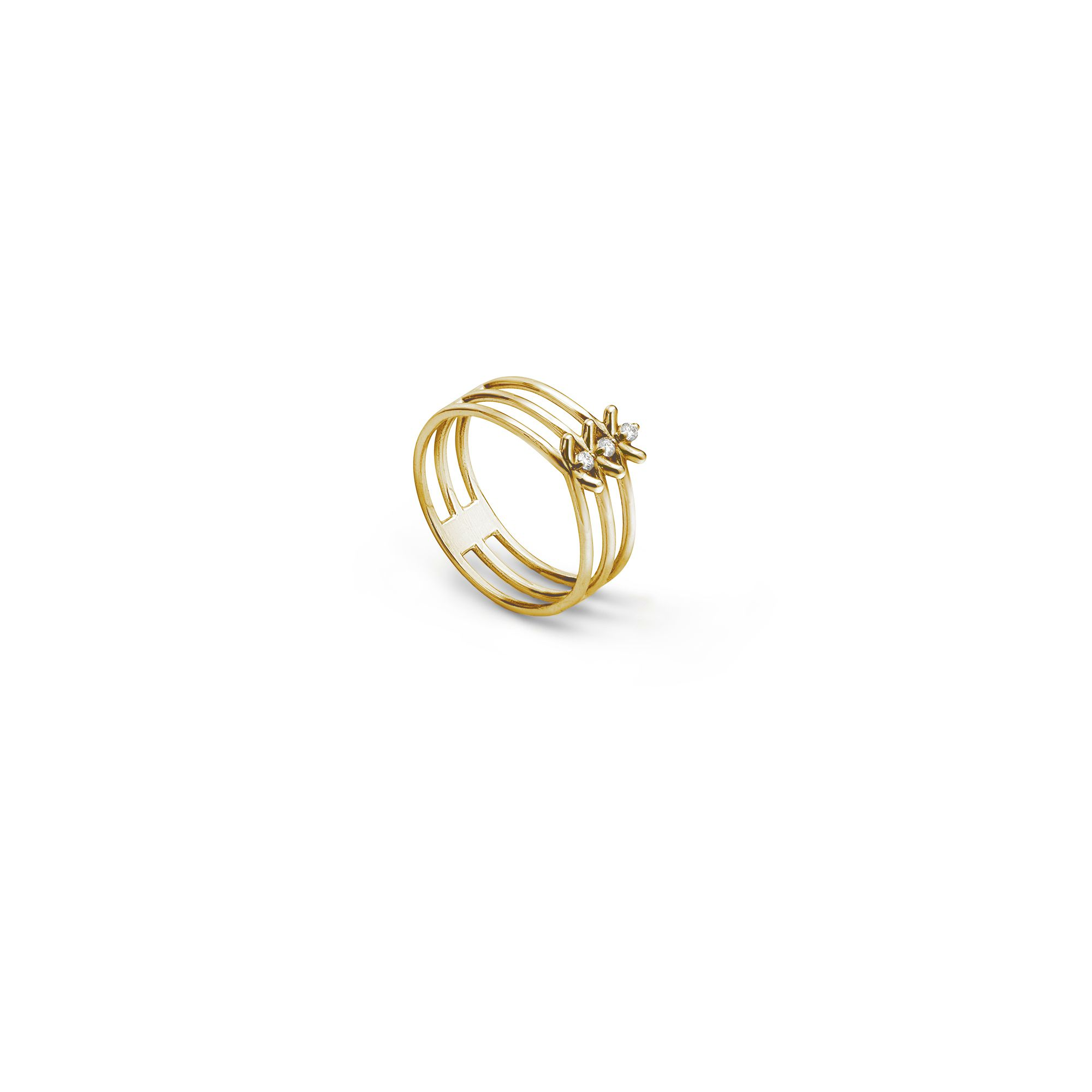 Midi-ring 'Spinae' ring Ring in yellow gold and diamonds
