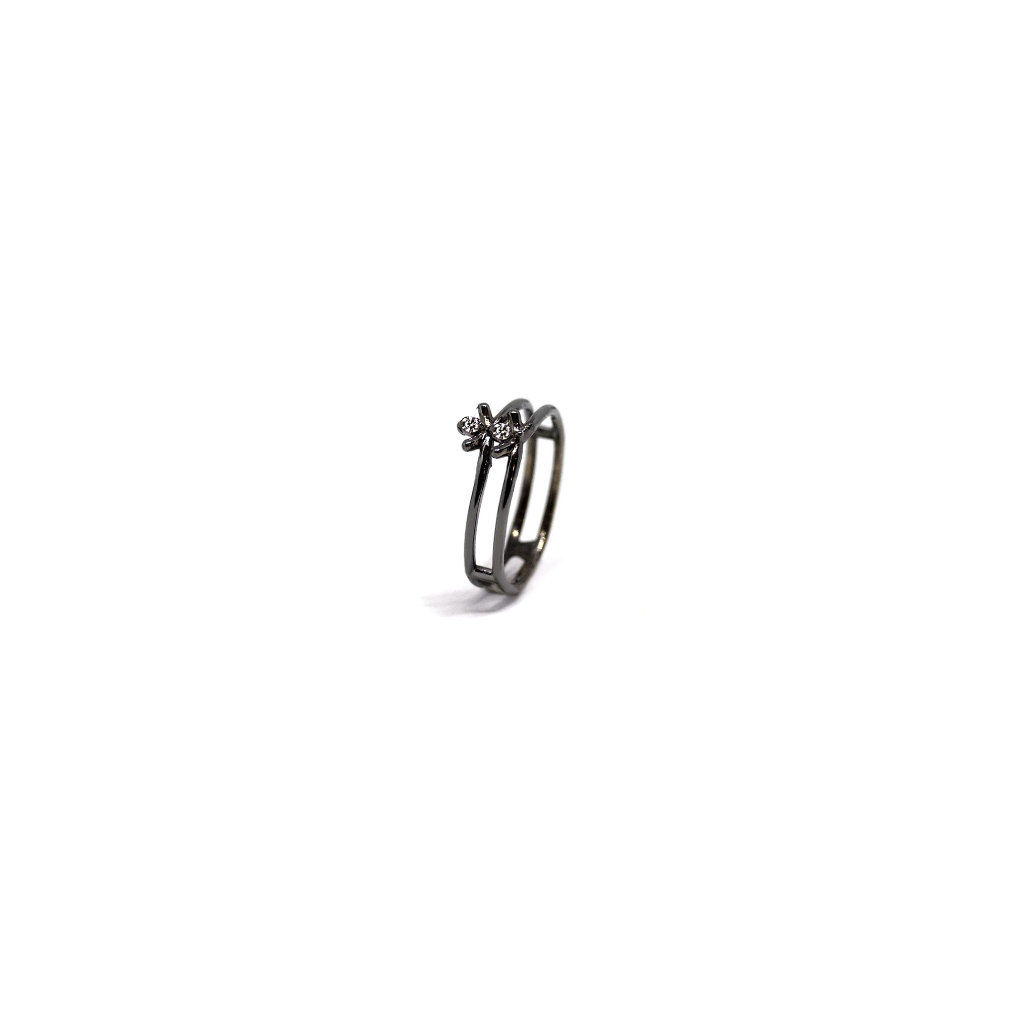 2 element 'Spinae' ring Ring in black silver
