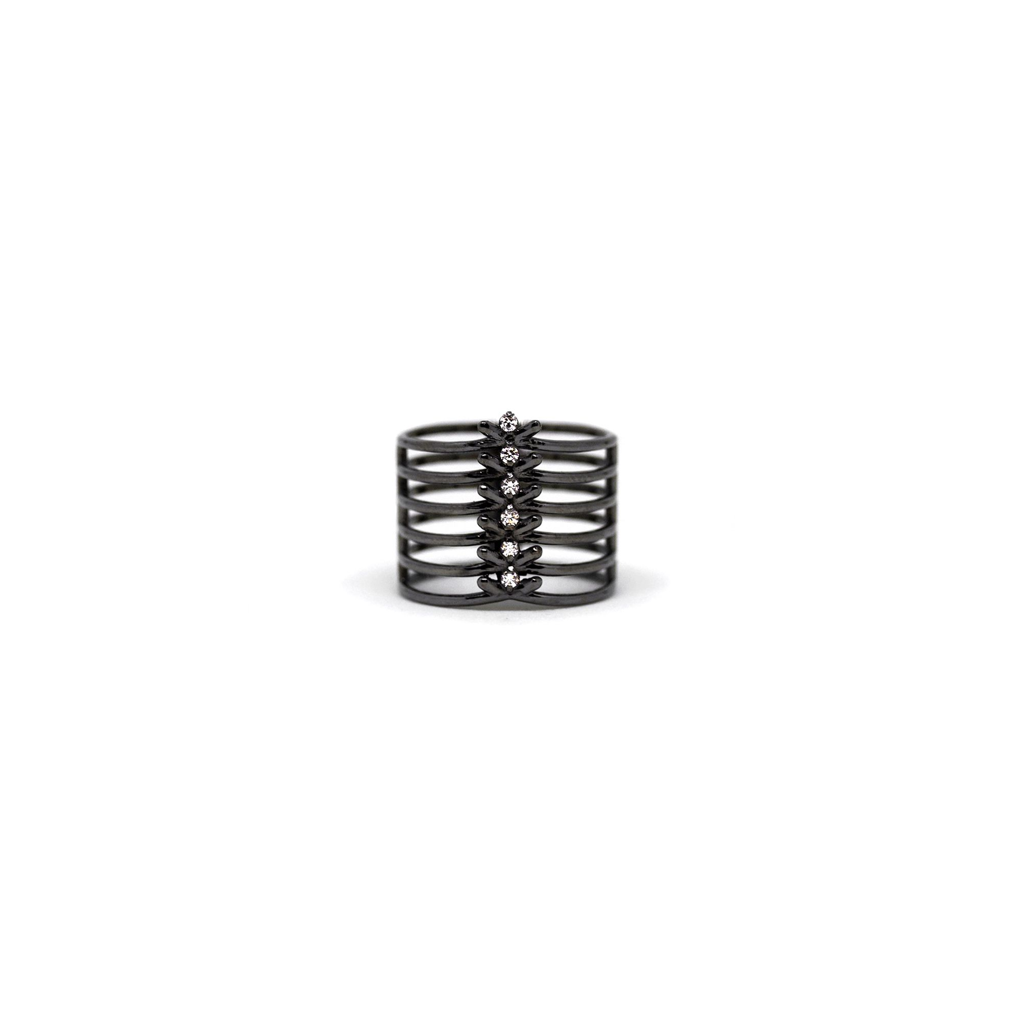 6 element 'Spinae' ring Ring in black silver