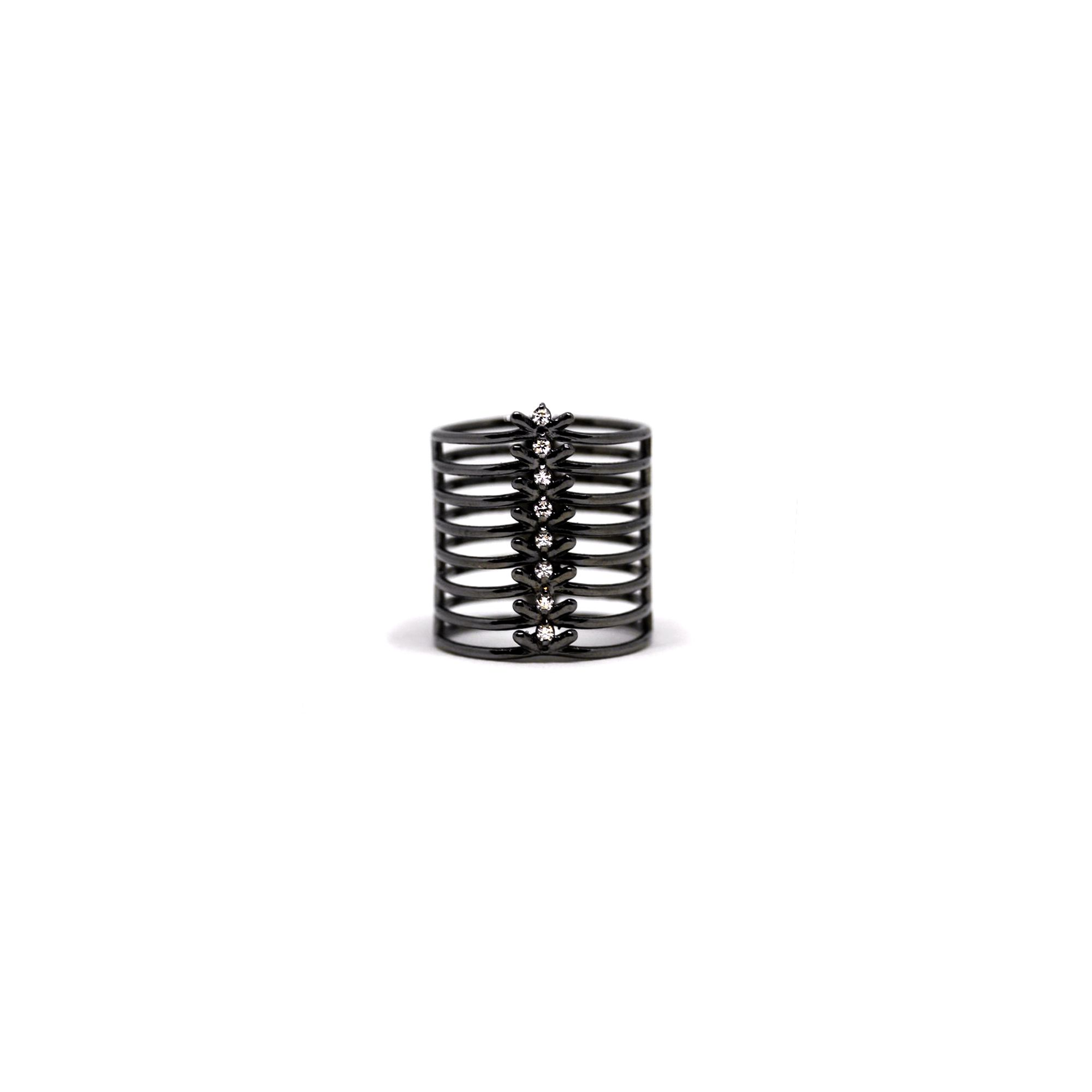 8 element 'Spinae' ring Black silver ring