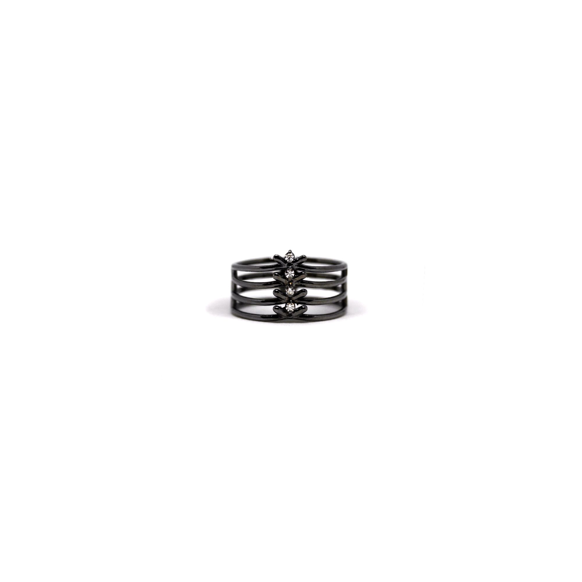 4 element 'Spiane' ring Ring in black silver