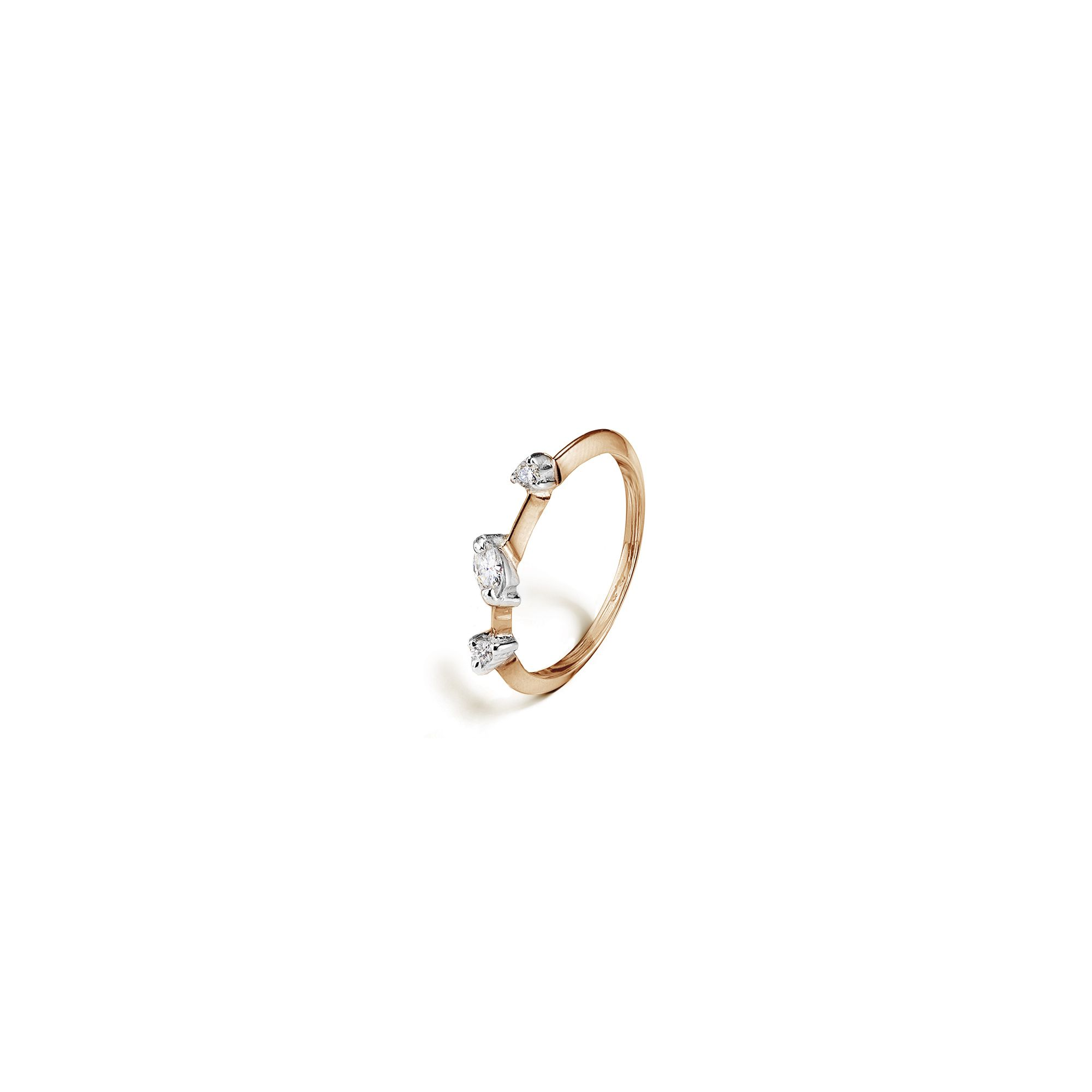 Rose gold 'Balance' ring with marquise Ring in rose gold and diamods