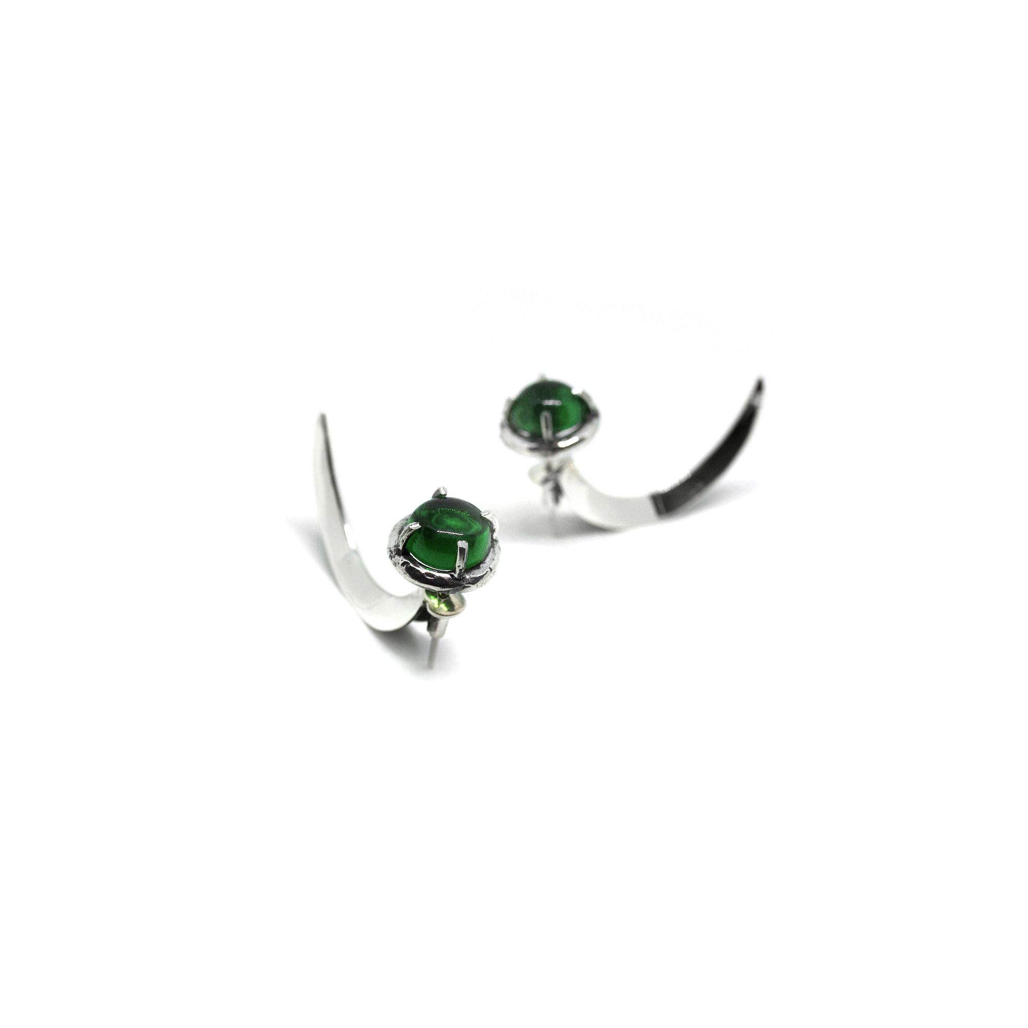 Green crystal Hooks Earrings in silver
