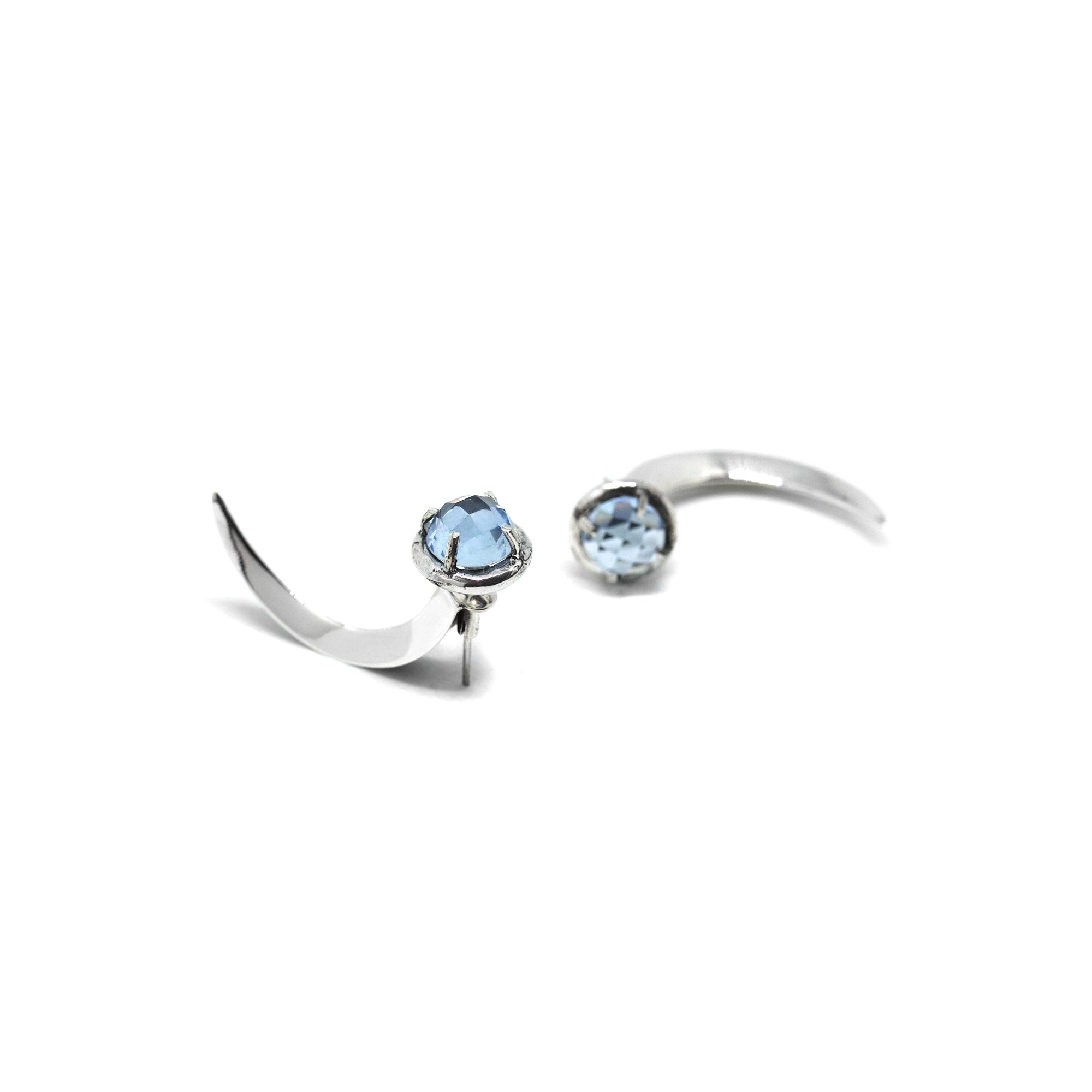 Light blue crystal hooks Silver earrings