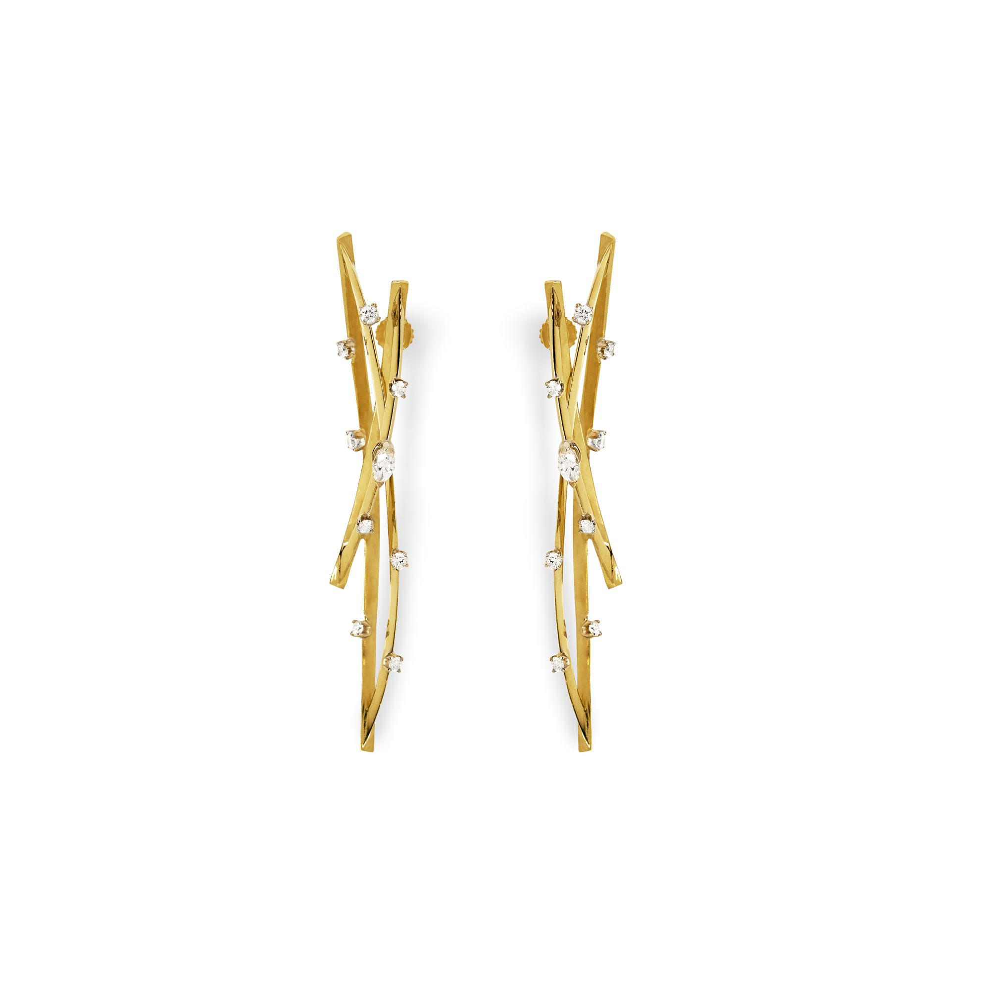 Double orbit earrings Earrings in yellow gold and diamonds