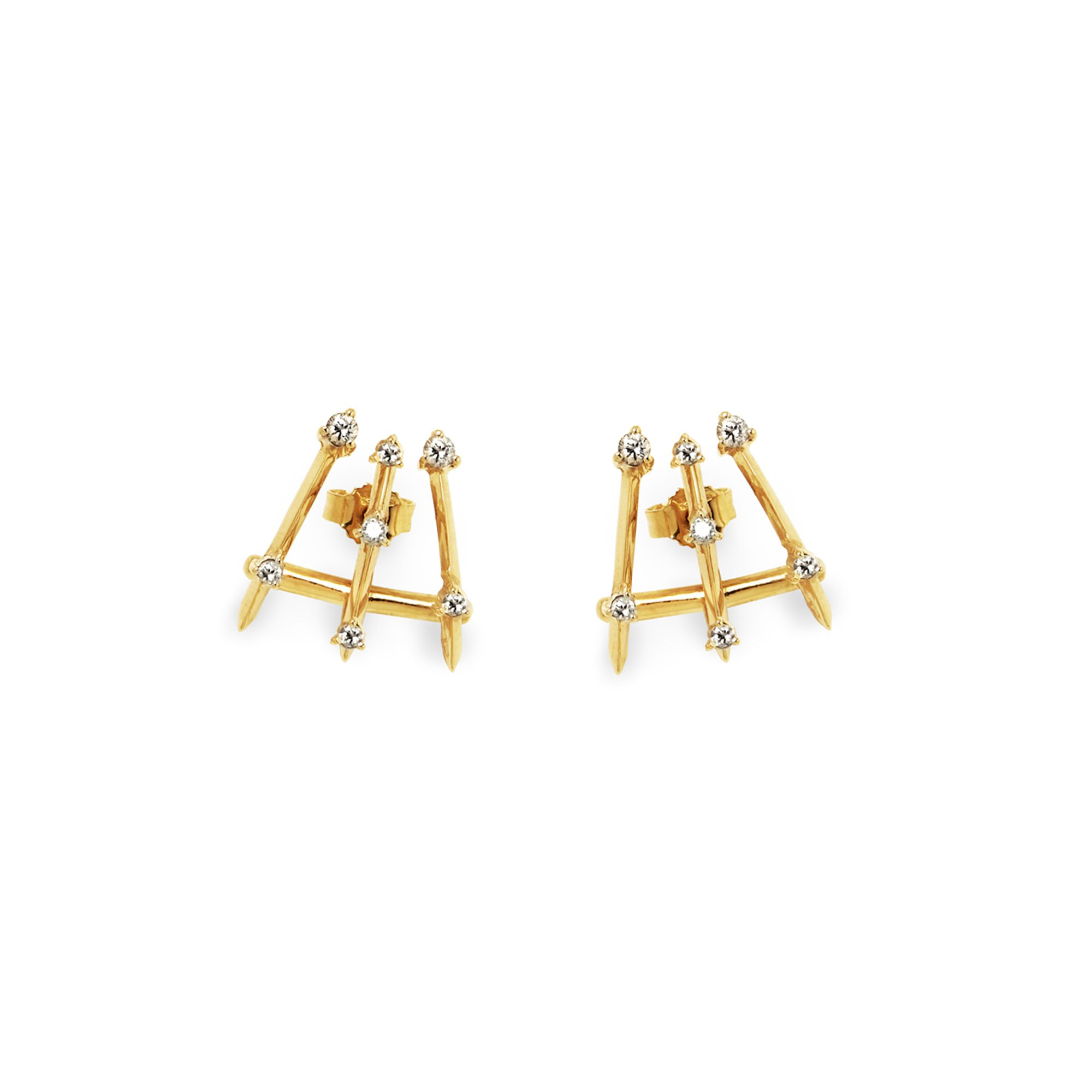 3 element 'Balance' earrings Earrings in yellow gold and diamonds