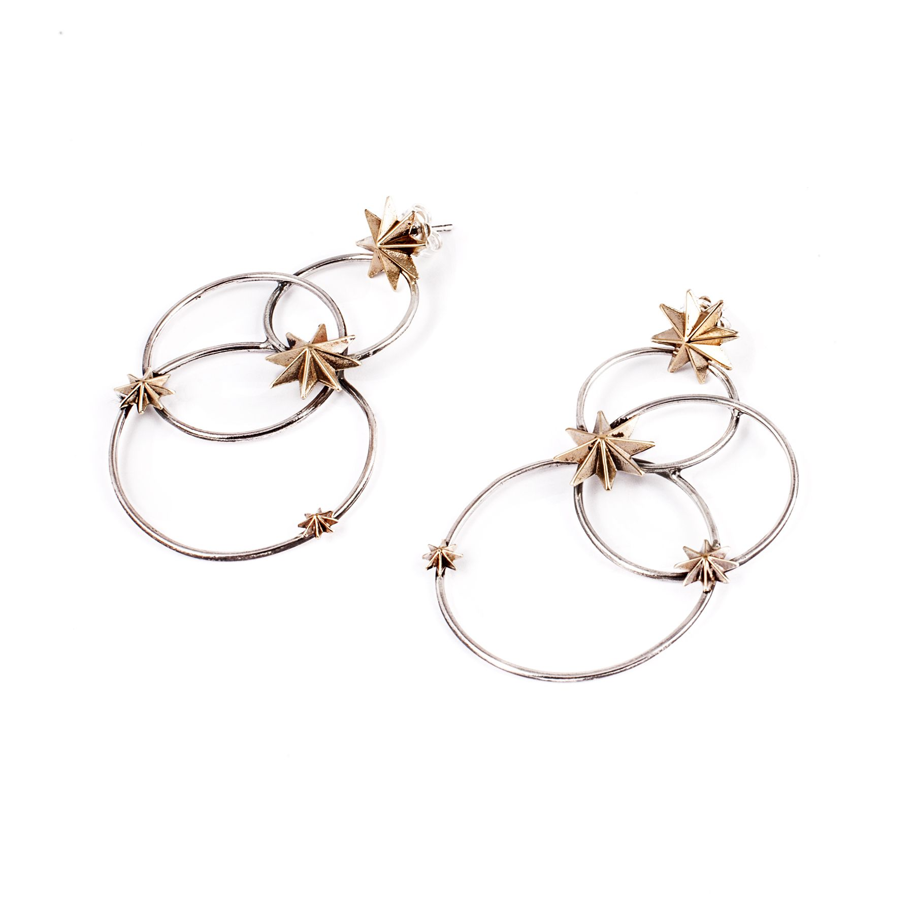 Constellations Earrings in silver and bronze