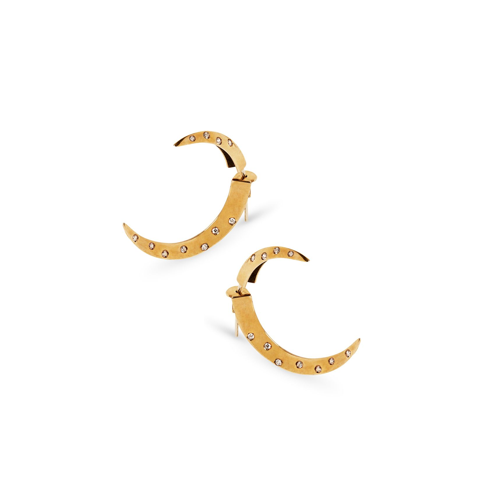 Half moon hooks with stones Earrings in bronze and sapphires
