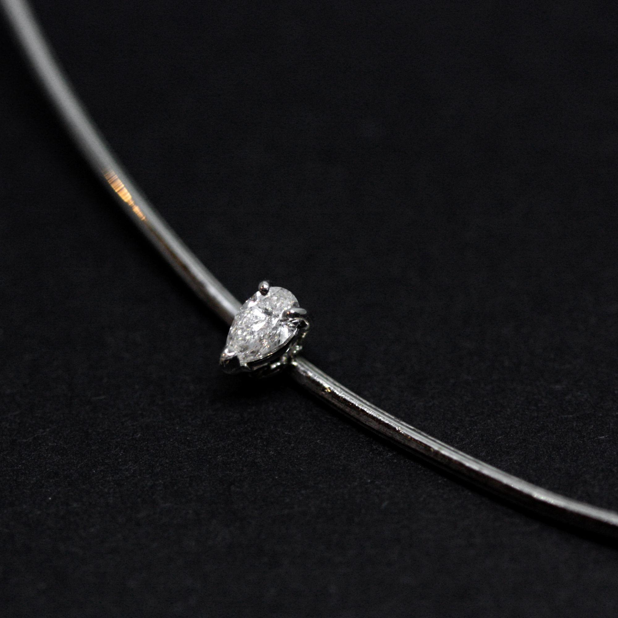 White gold 'Balance' cocker White gold necklace with white diamonds