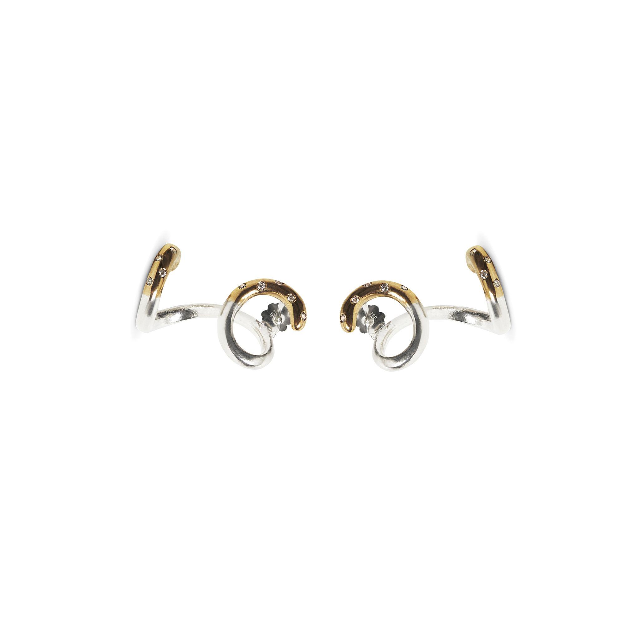 Riccioli 'Neon' con pietre Orecchini in argento, bronzo e zaffiri