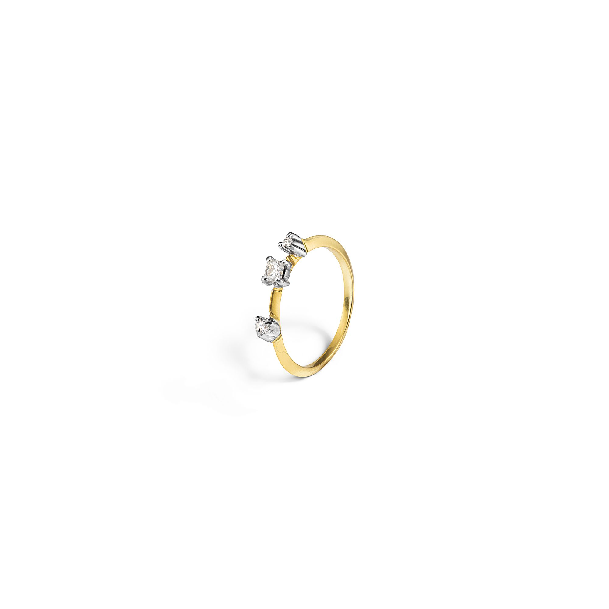 Yellow gold 'Balance' ring with princess Ring in yellow gold and white diamonds