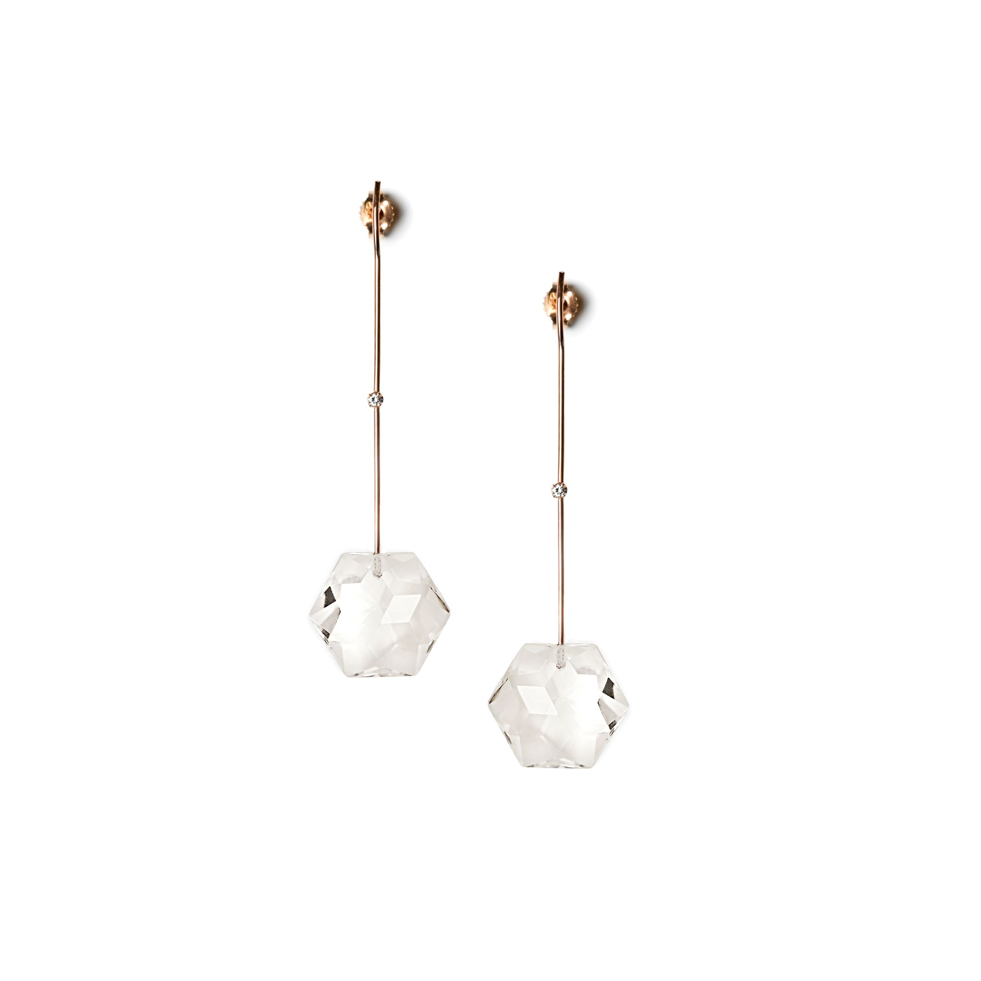 Rose gold 'Amo' with crystals Earrings in rose gold, white diamonds and rock crystal