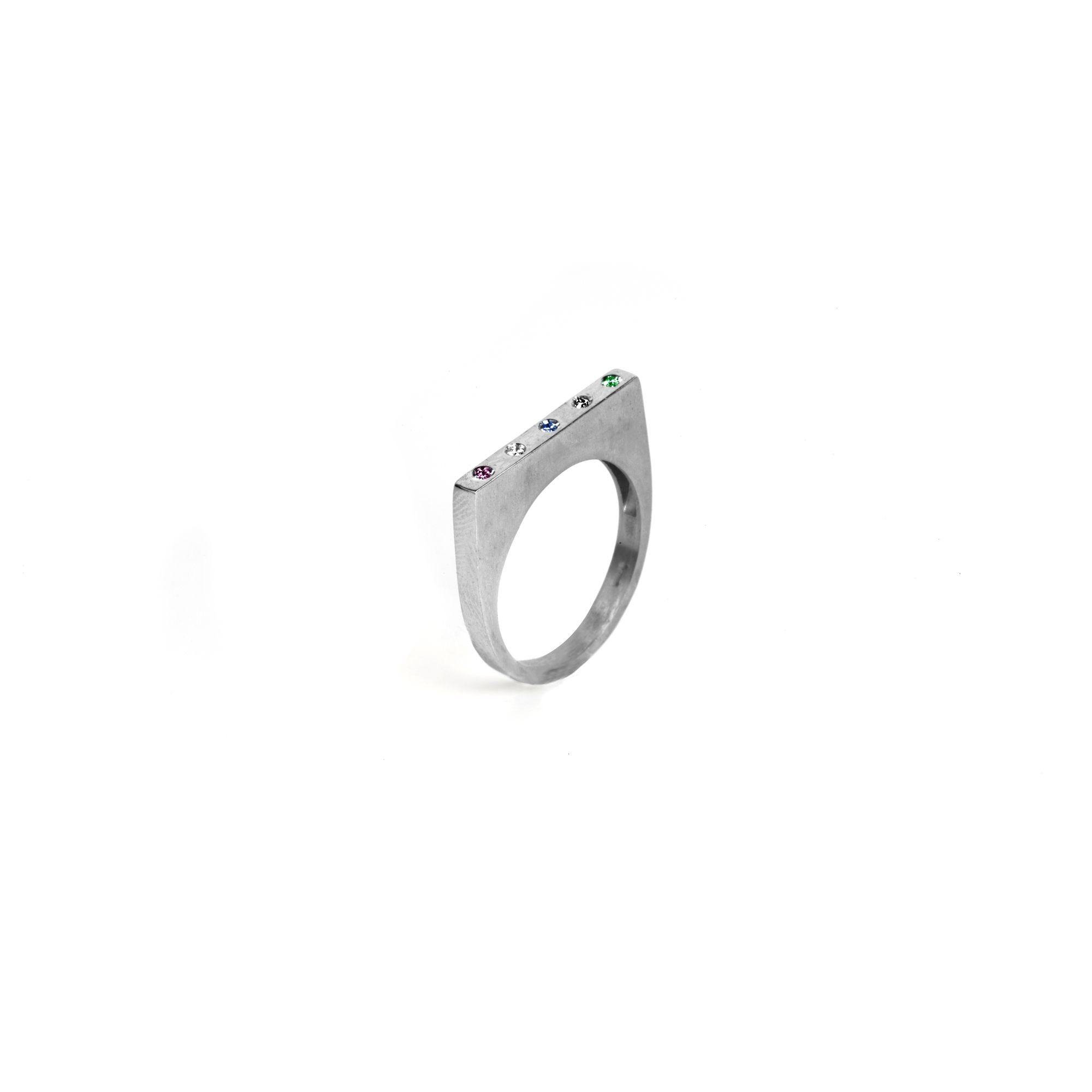 'Congiunzioni' modular square ring Ring in silver with colored sapphires