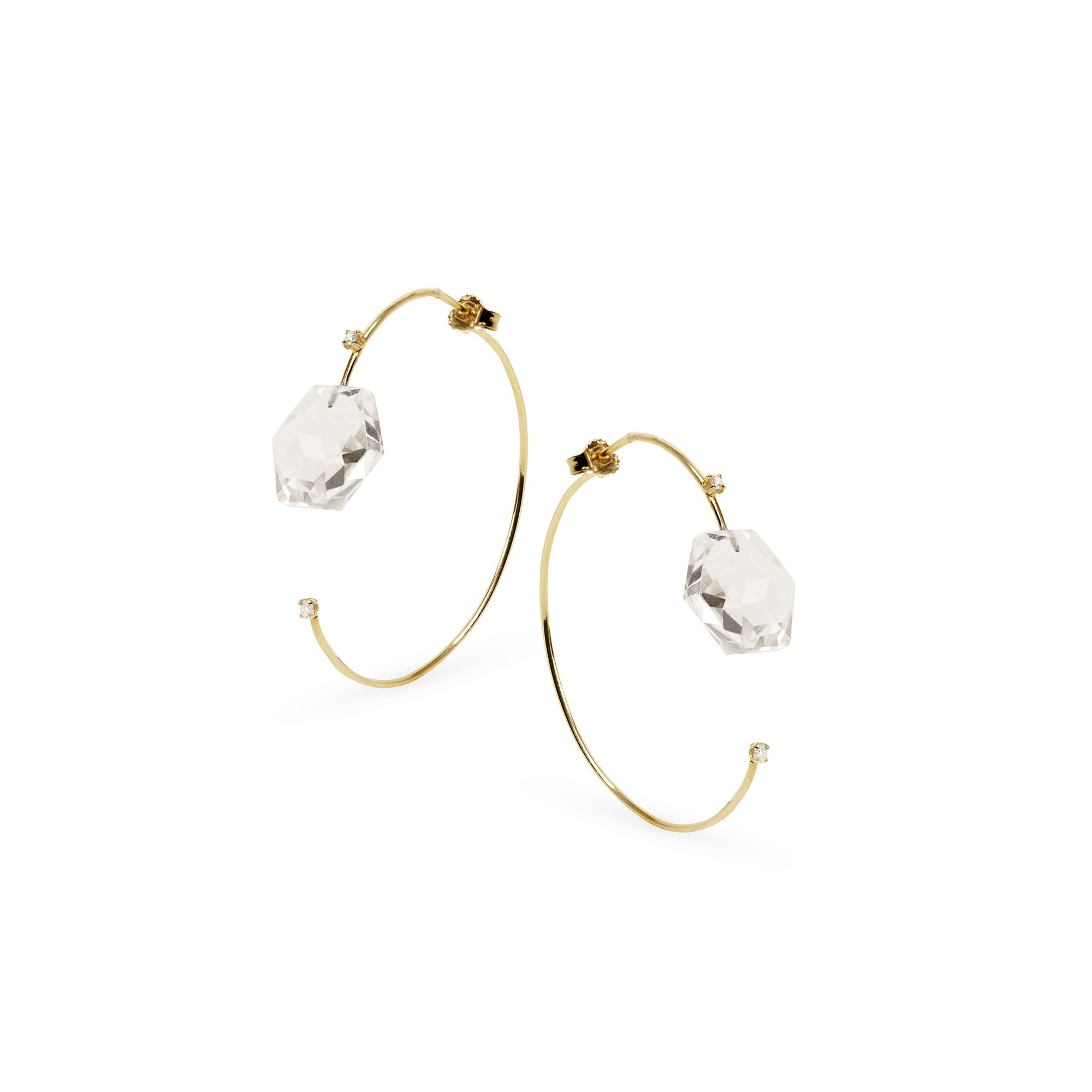 Front-back hoop earrings  Yellow gold earrings with diamonds and crystals
