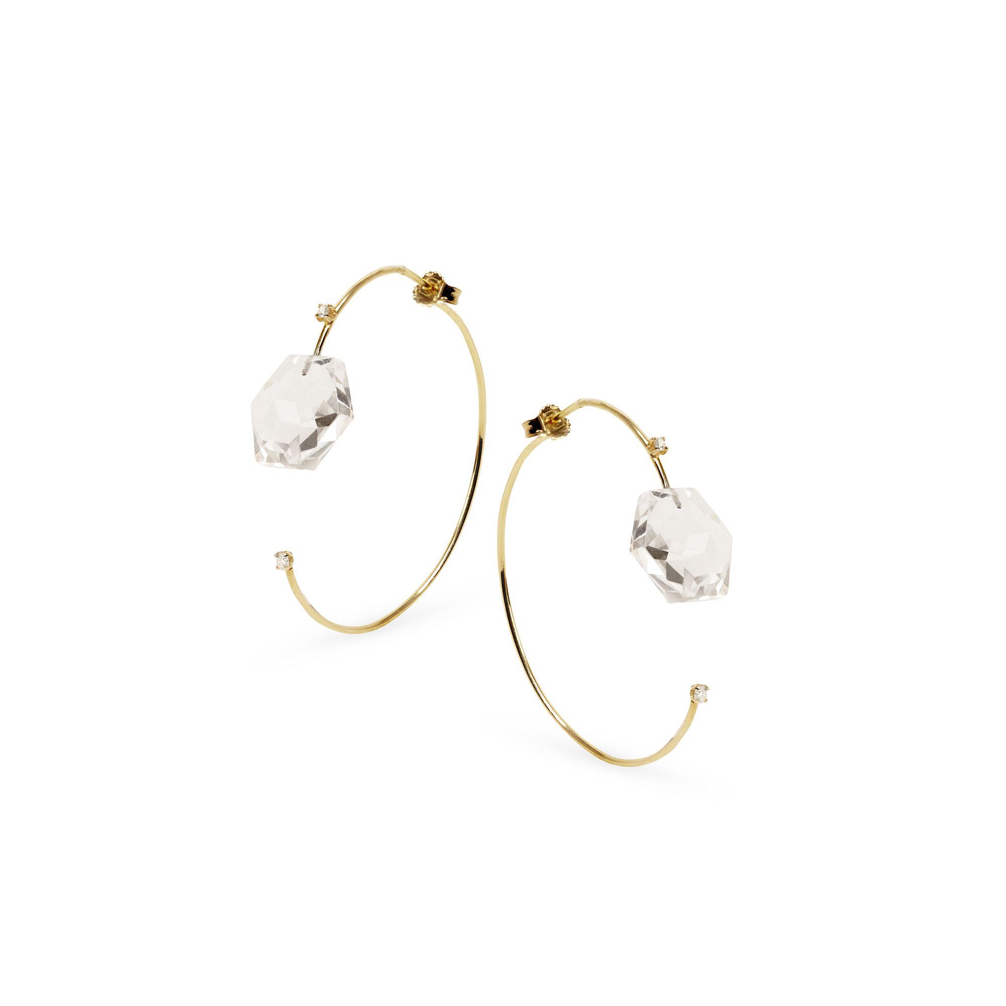 Cerchio 'Amo' con cristallo Orecchini in oro giallo, diamanti e cristallo di rocca