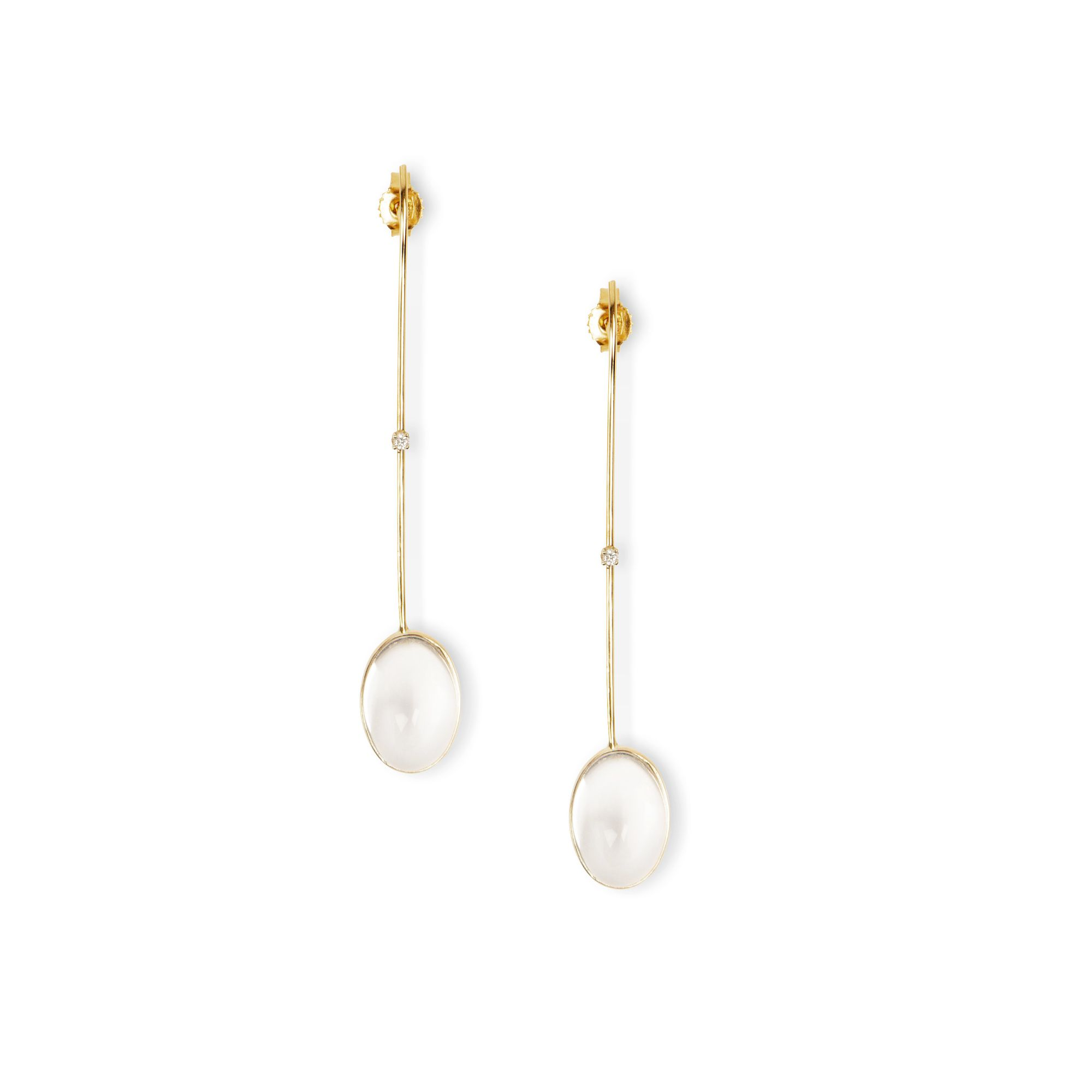 'Amo' with cabochon crystals Earrings in yellow gold, diamonds and crystals