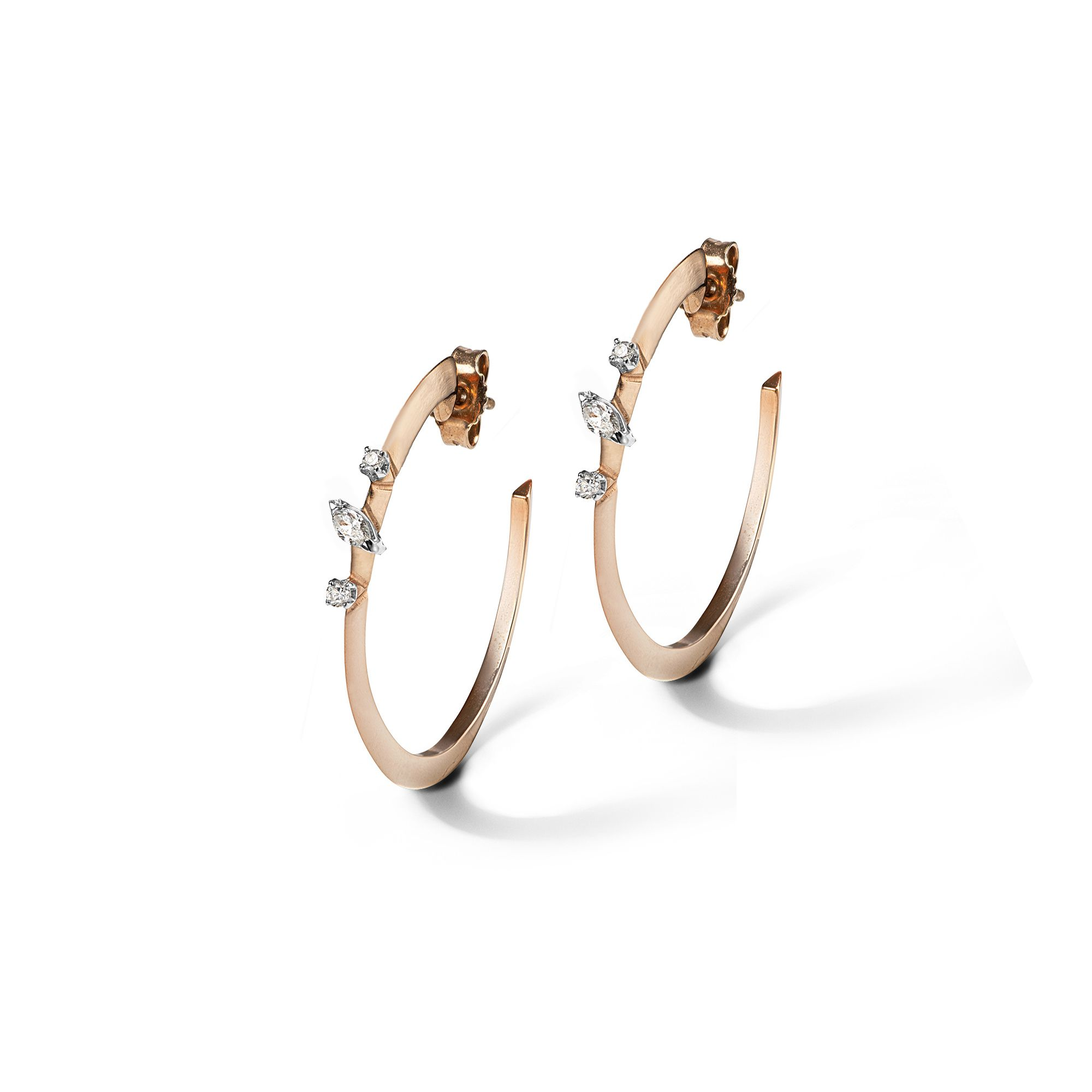'Balance' hoop earrings Earrings in rose gold and diamonds