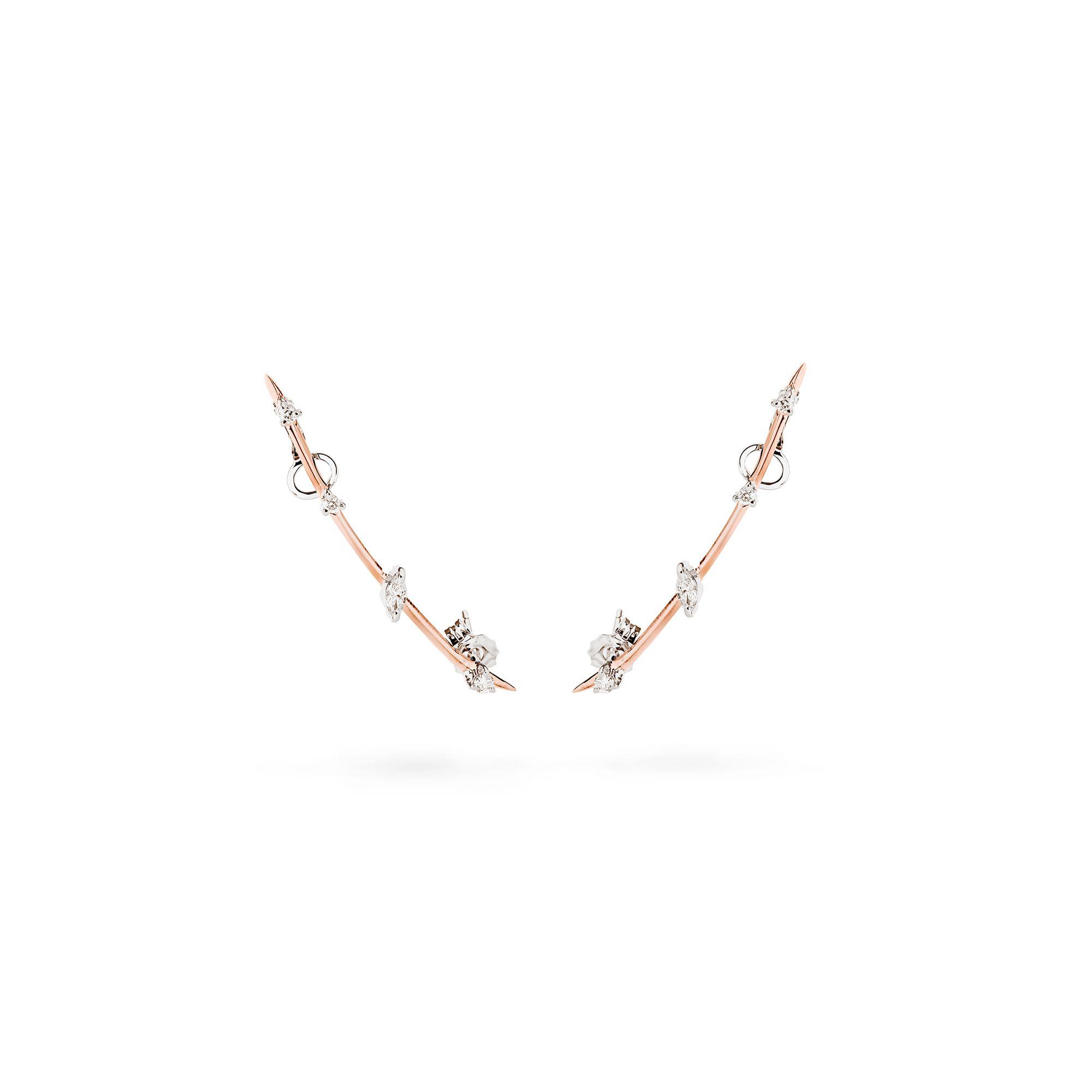 'Lancia' oro rosa Orecchino in oro rosa e diamanti