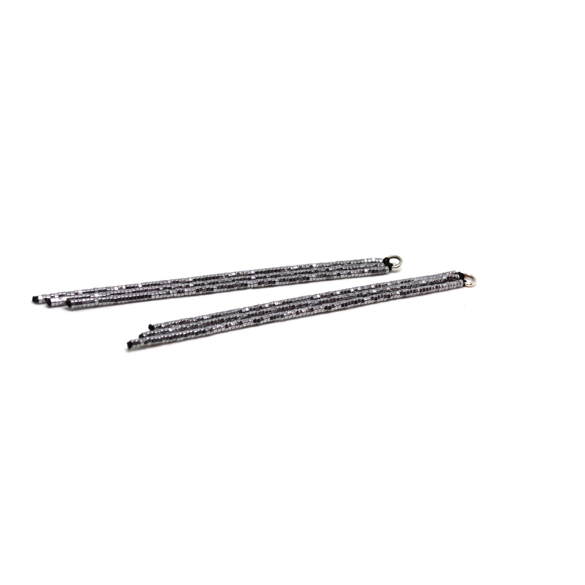 Frange ematite argento lunghe Accessori intercambiabili per orecchini