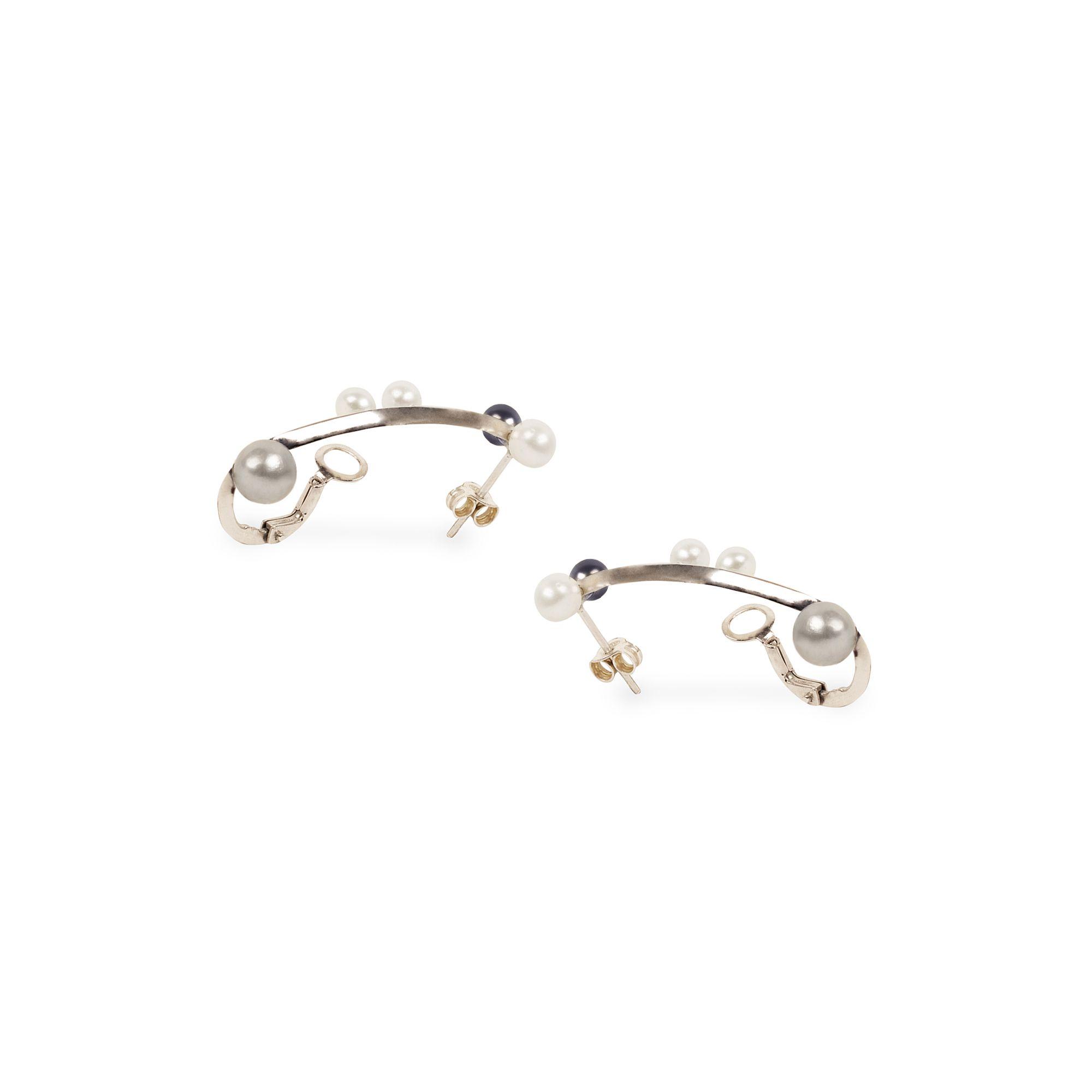 'Lancia' con perle Orecchini in argento con perle