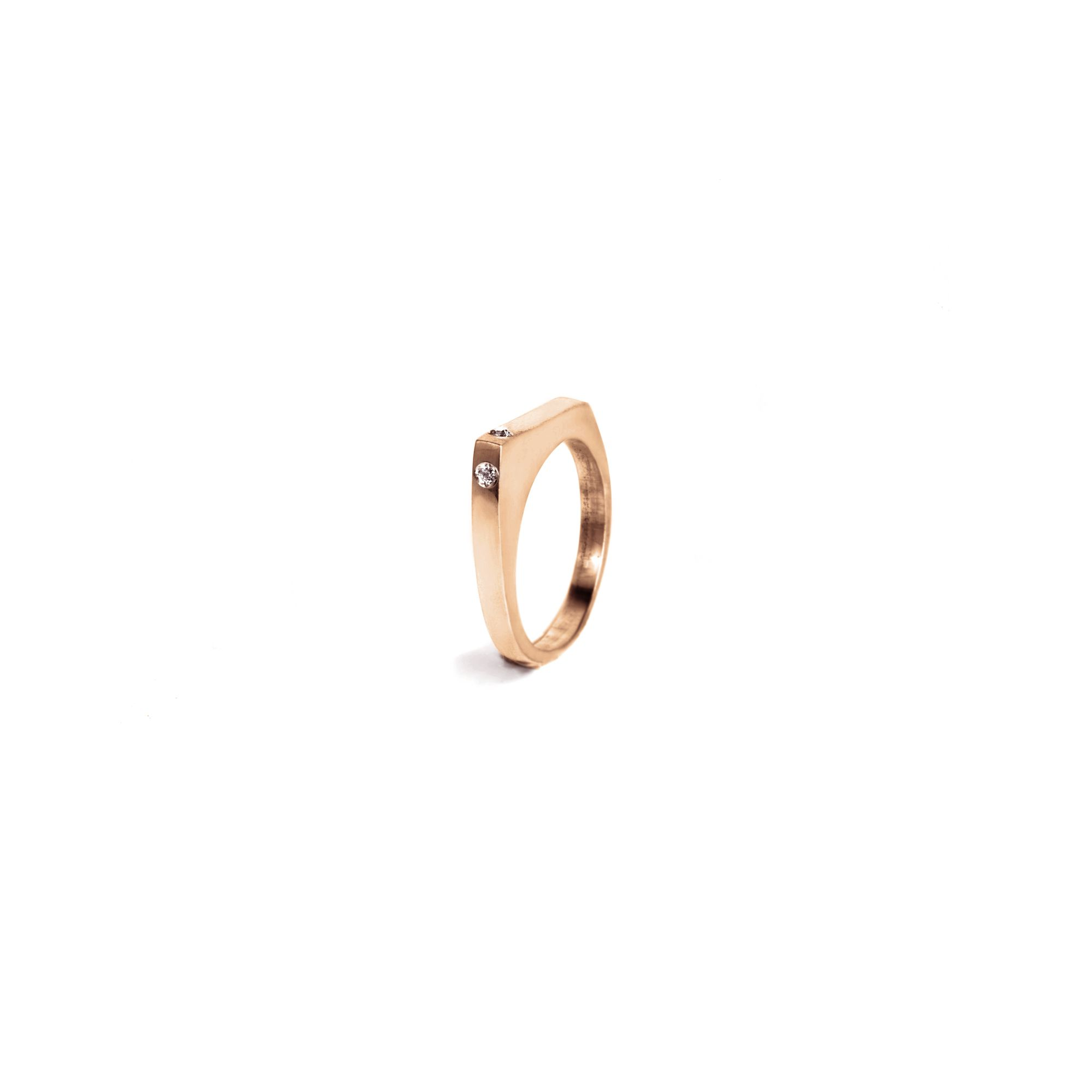 Anello modulare 'Congiunzioni' punta in oro rosa Anello in oro rosa 9k e diamanti bianchi