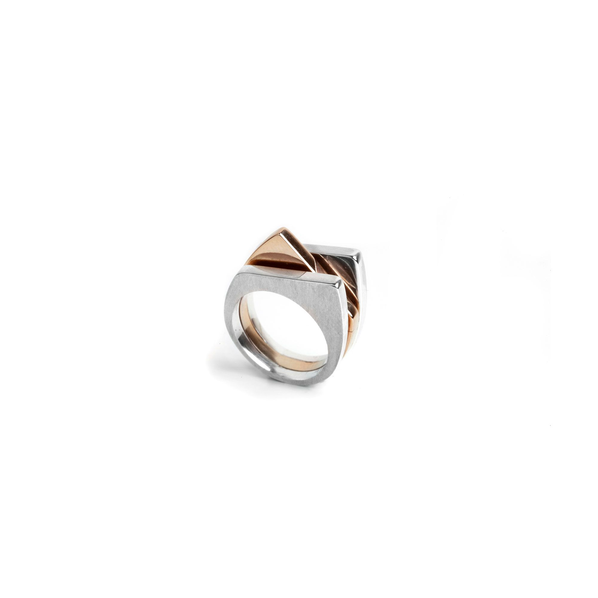 3 element 'Congiunzioni' ring Silver and bronze ring