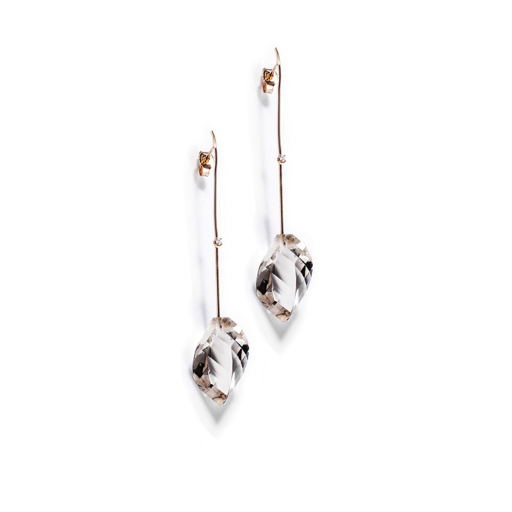 Rose gold 'Amo' earrings with crystals Rose gold and diamond earrings