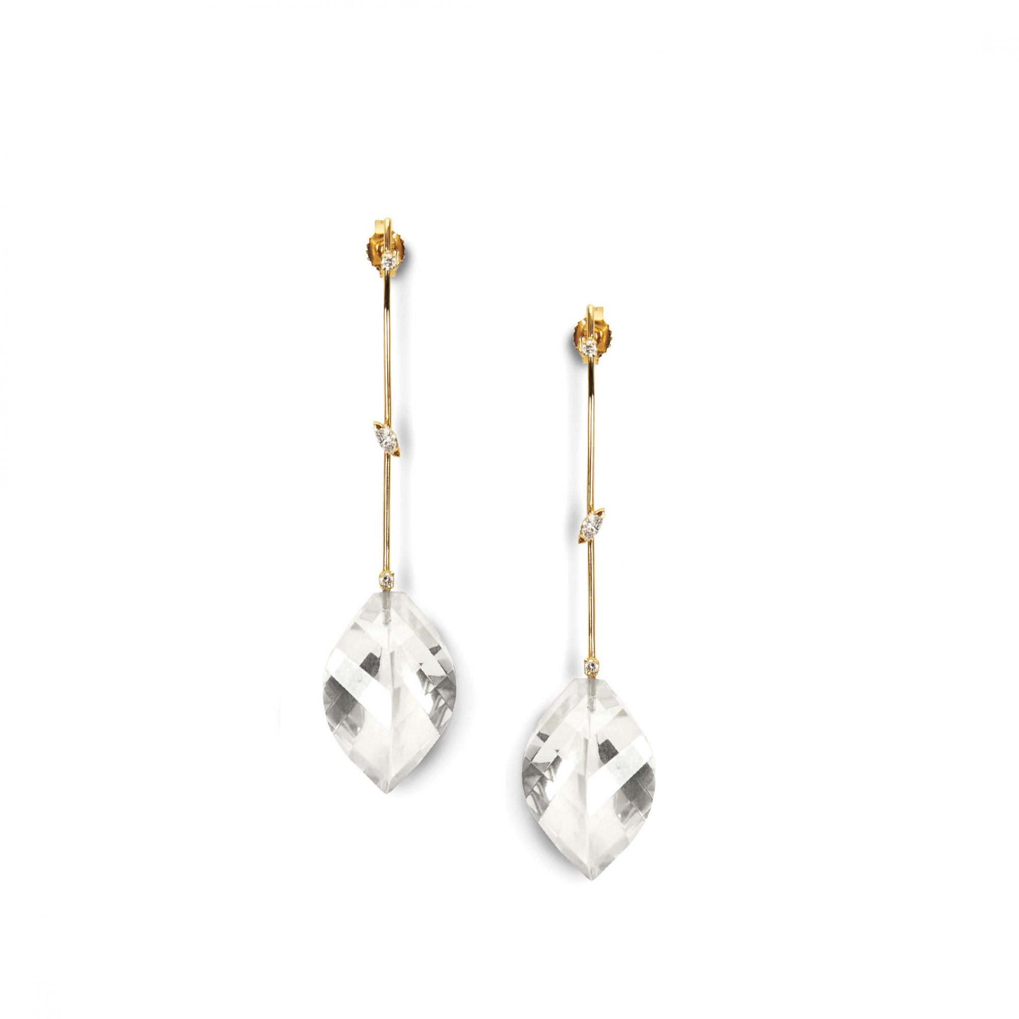 'Amo' earrings with marquise Yellow gold and diamond earrings