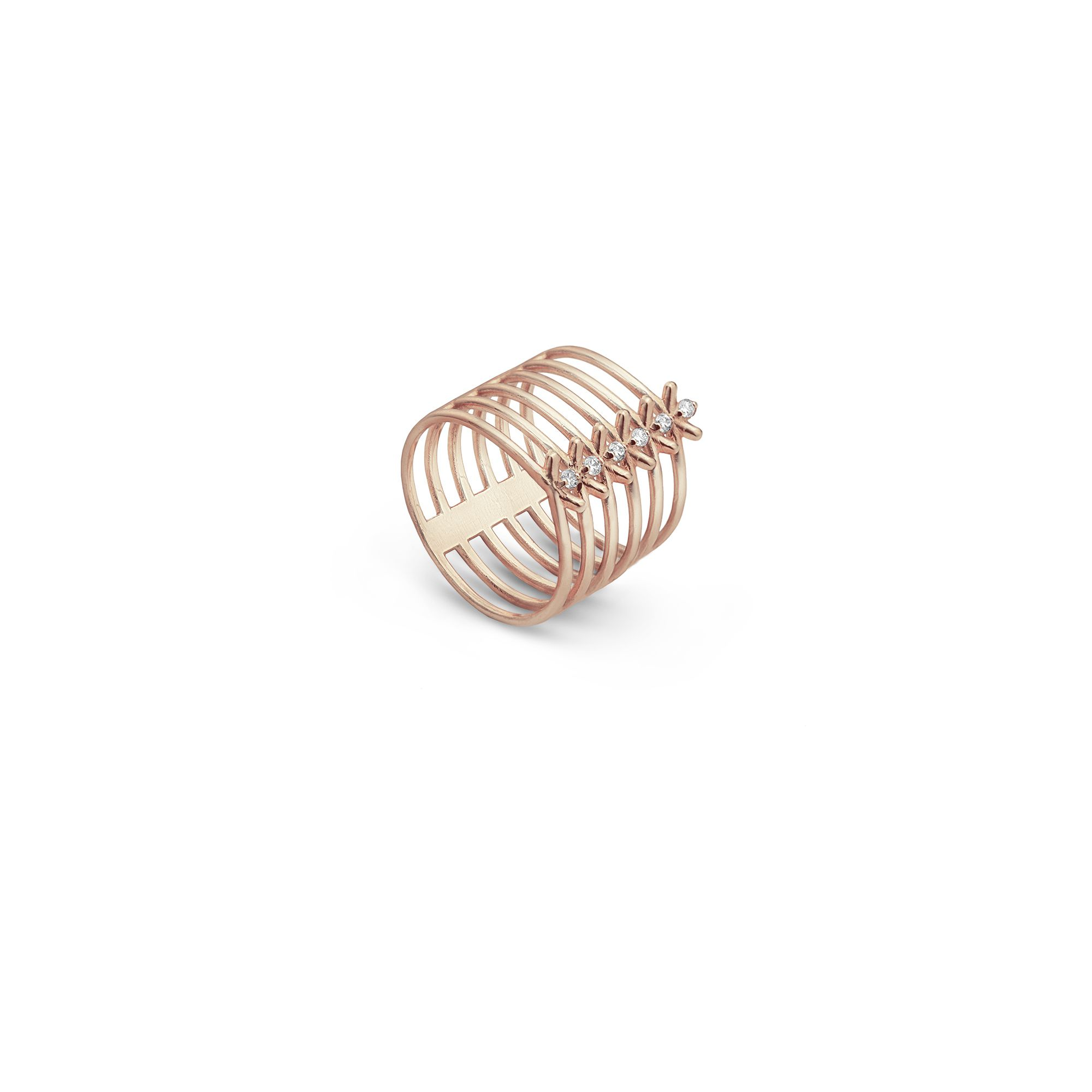6 element 'Spinae' ring Rose gold ring with diamonds
