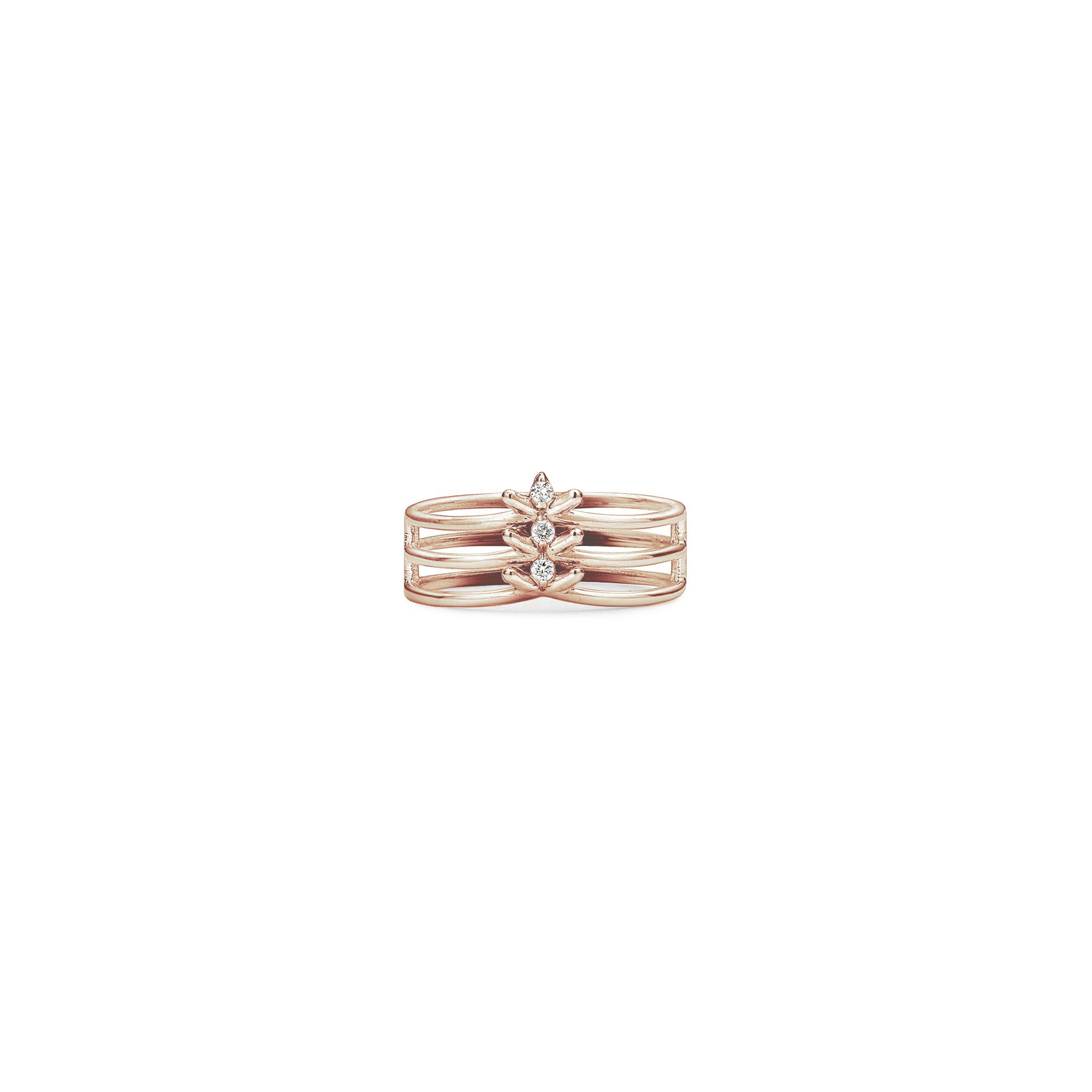 3 element 'Spinae' ring Rose gold ring with diamonds