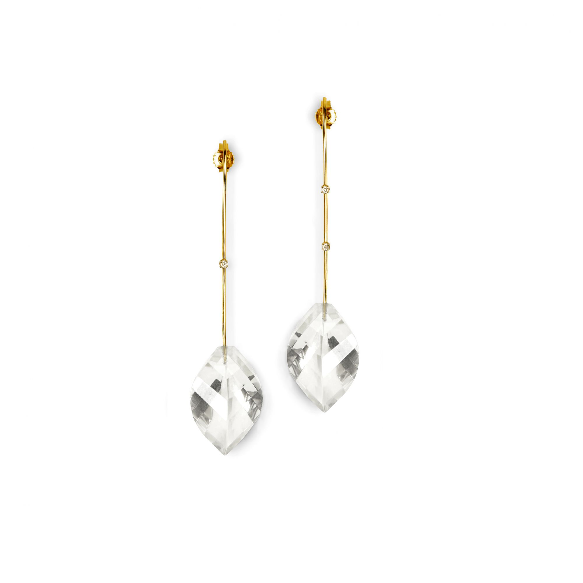 Yellow gold 'Amo' earrings Yellow gold earrings with crystals and diamonds