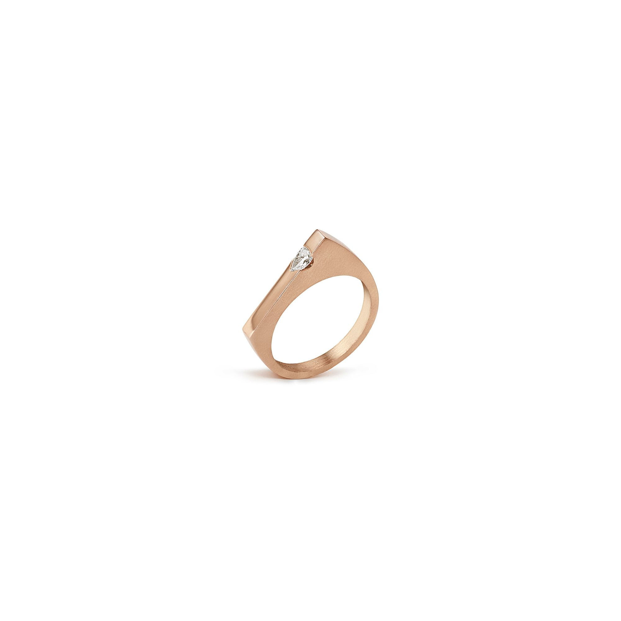 Modular 'Congiunzioni' point ring with marquise Rose gold ring with diamond