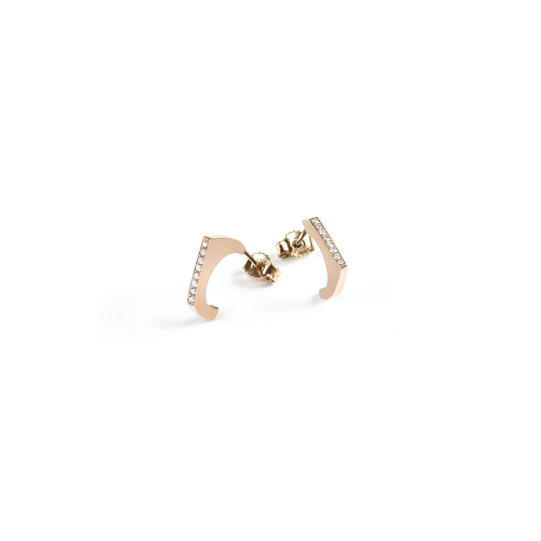 'Congiunzioni' 1 element earring Rose gold and diamond earrings