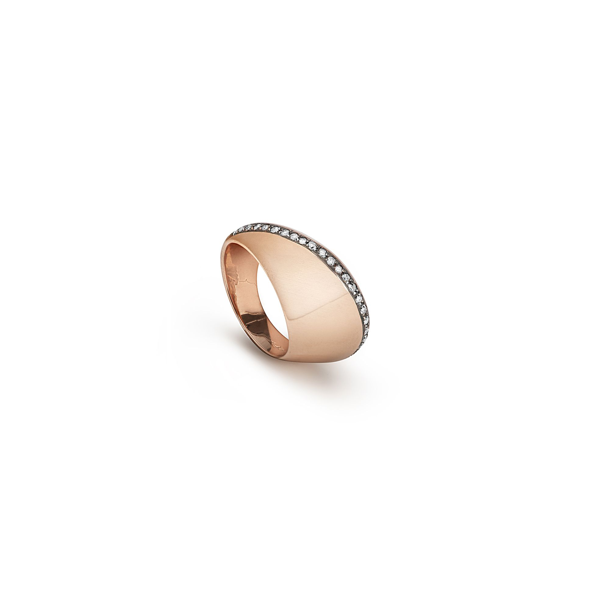 Rose gold 'aereo' ring Rose gold ring with champagne diamonds
