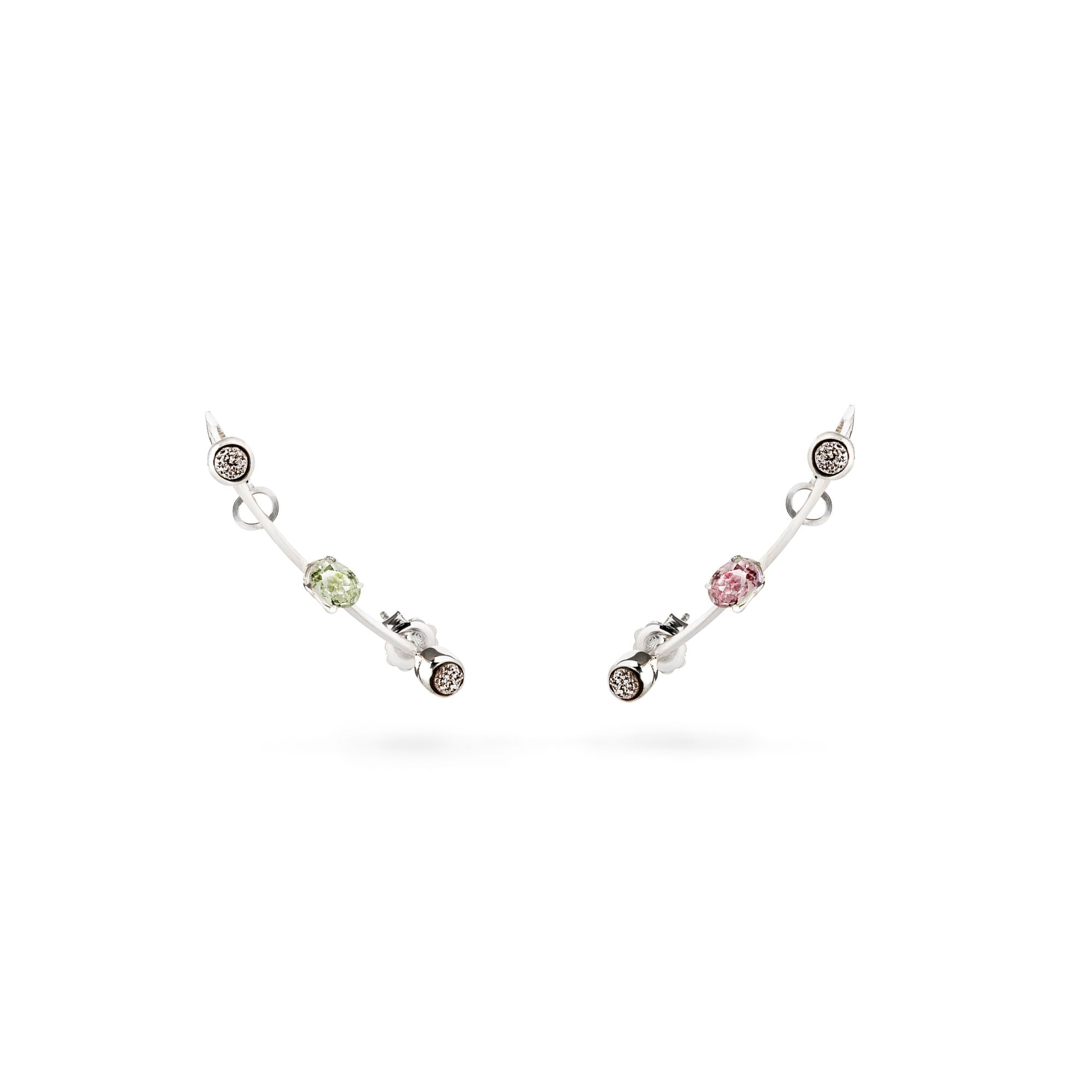 Tourmaline 'Lancia' earrings Silver earrings with tourmalines and druse