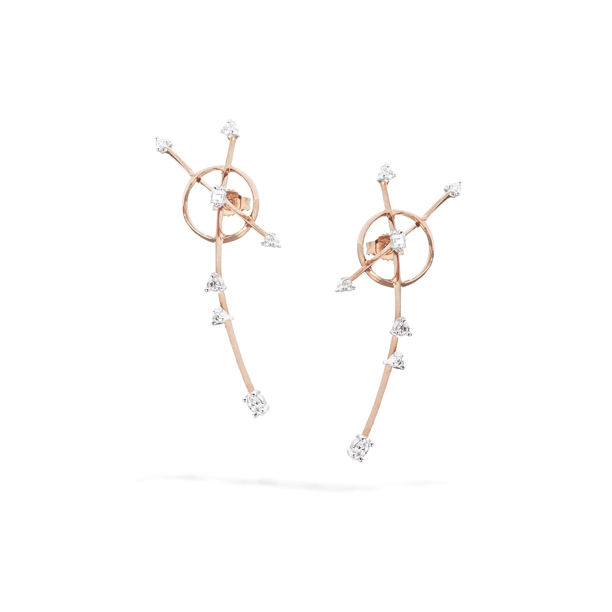 Rose gold 'Freccia' earrings Rose gold earrings with diamonds