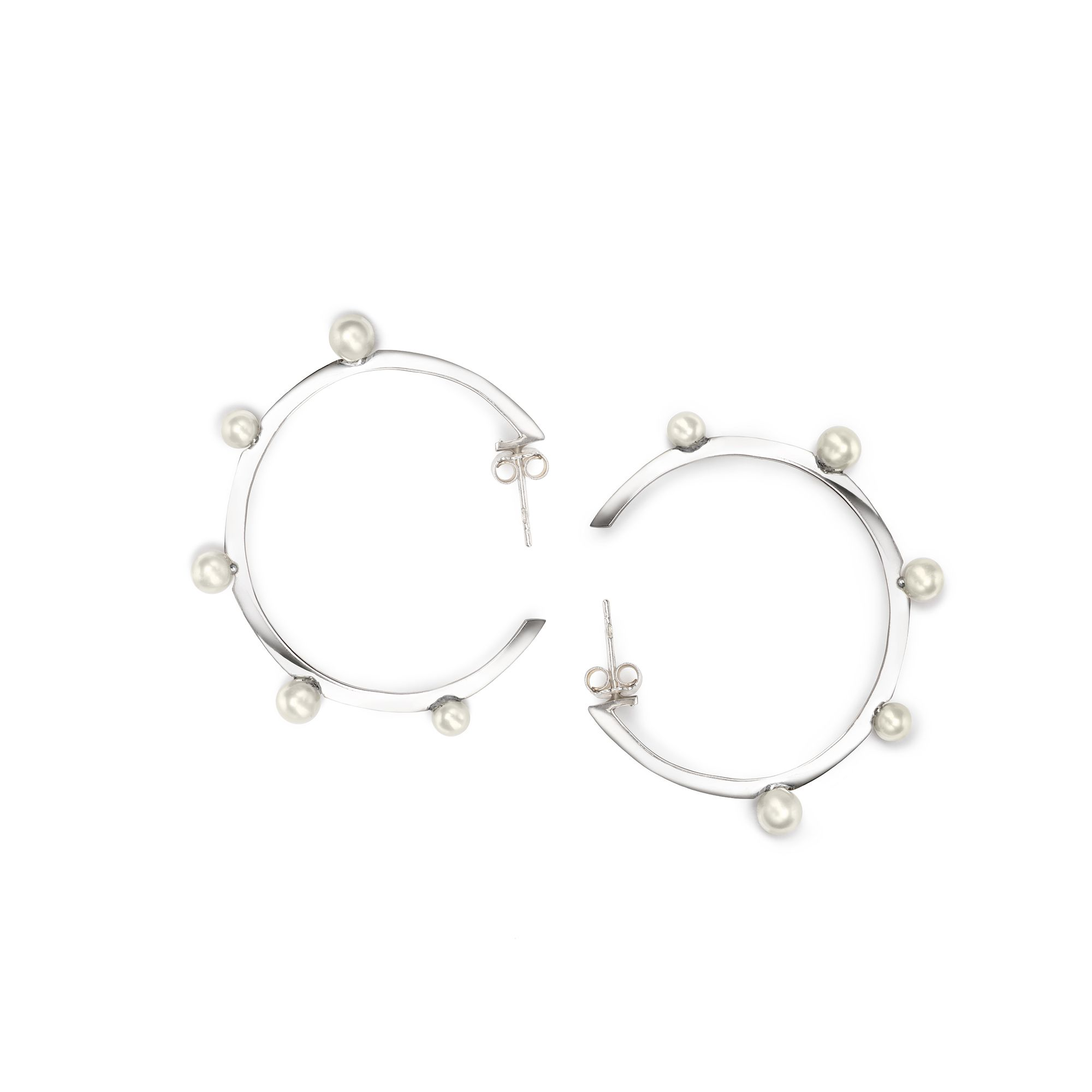Hoop earrings with pearls Silver earrings with white pearls
