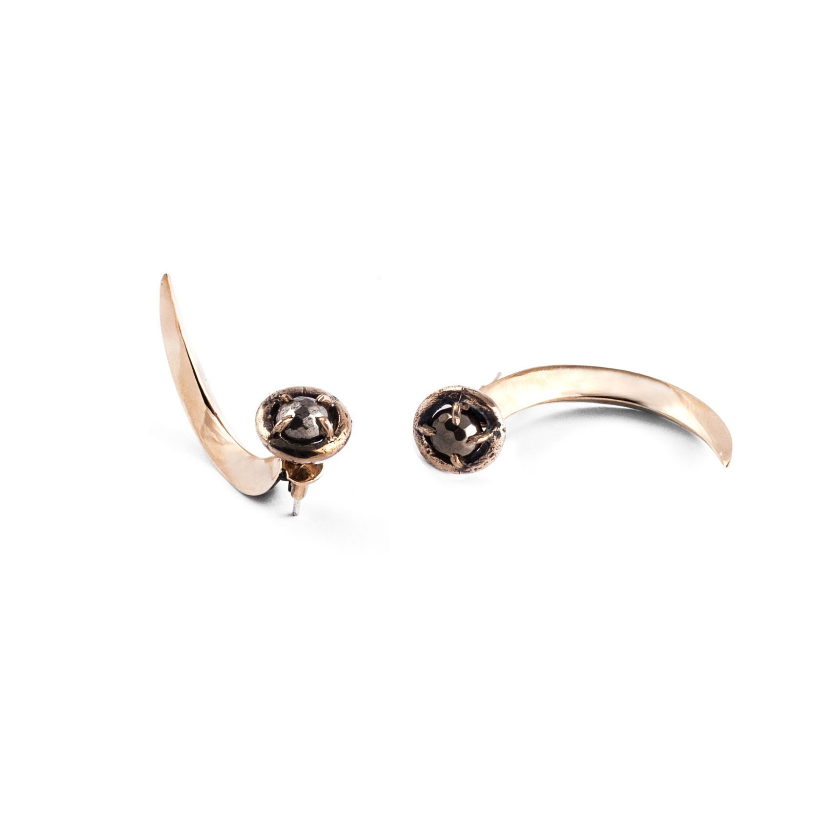 Pyrite Hooks Earrings in bronze, silver and pyrite