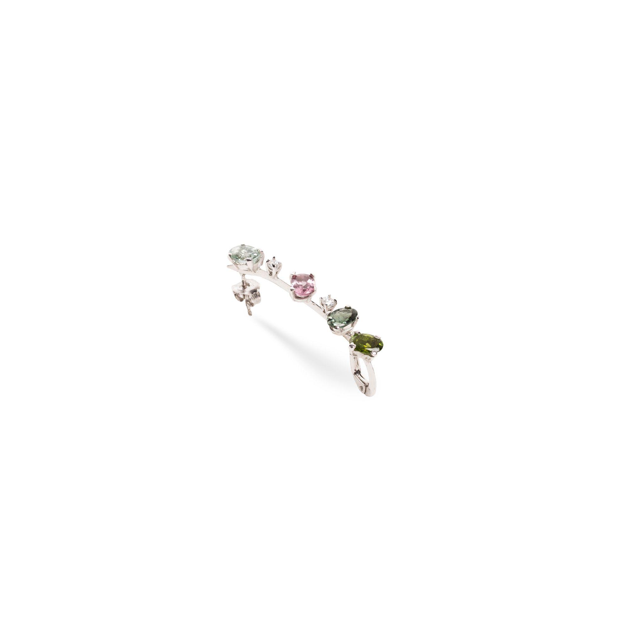 'Lancia' earring with tourmaline Silver mono earring with tourmalines and sapphires