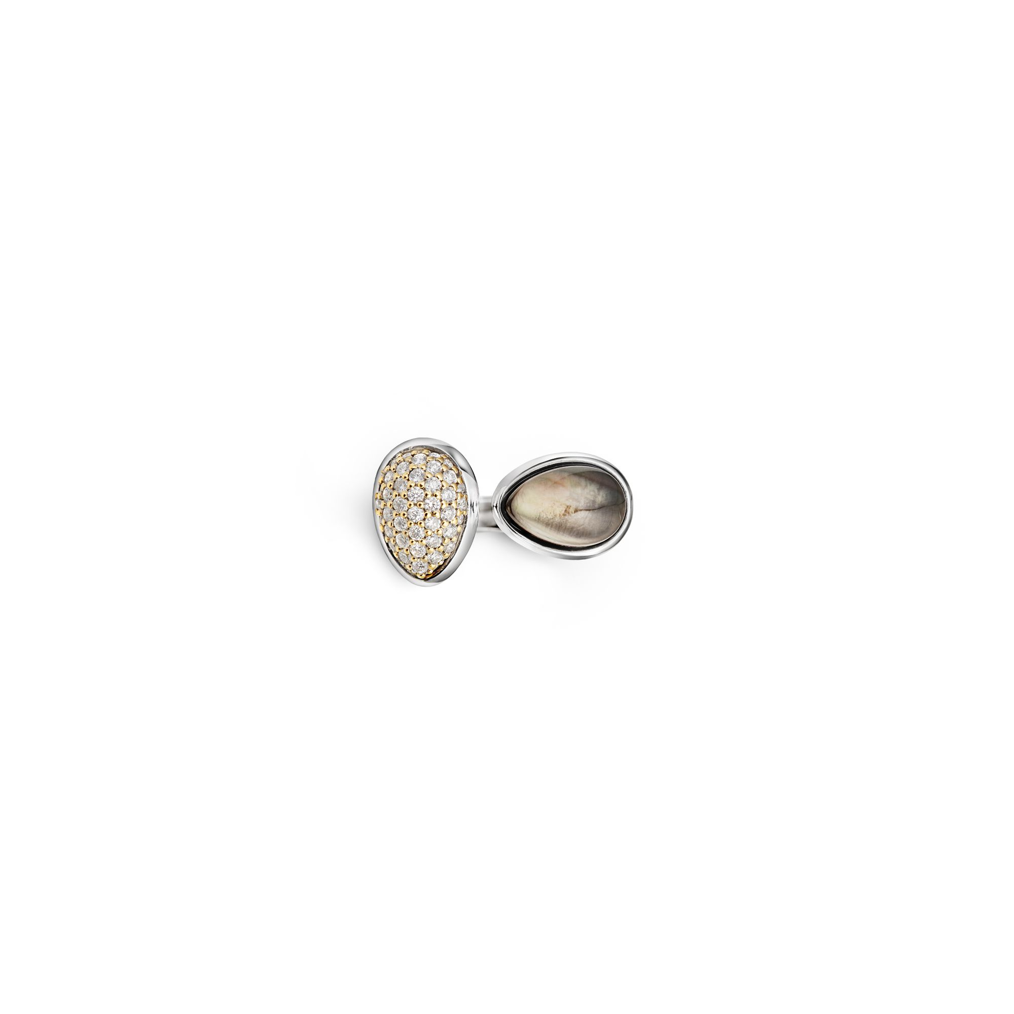 2 element Goccia ring Silver and gold ring with diamonds